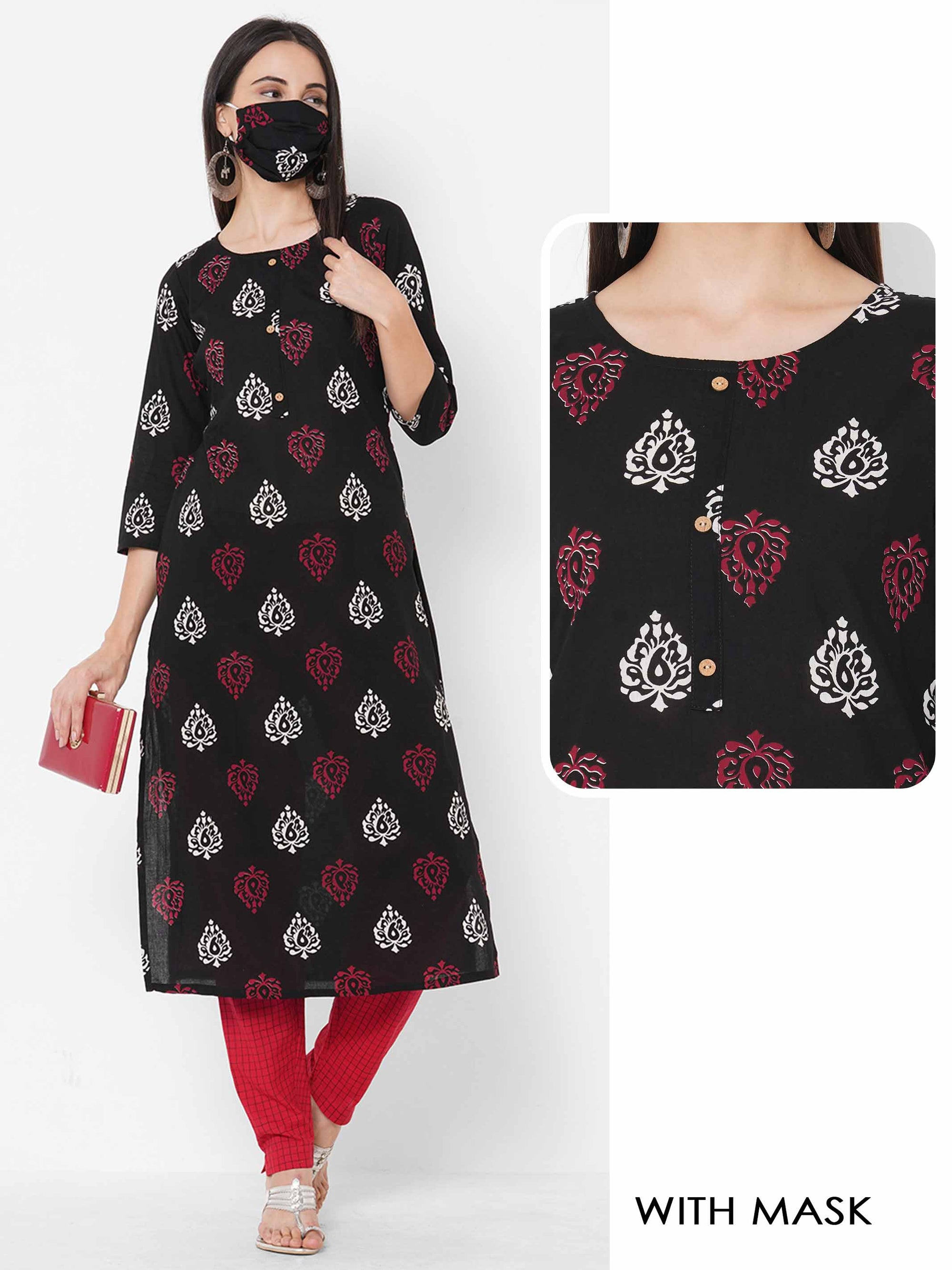 Ethnic Printed Straight Kurta with 2-Ply Mask - Black