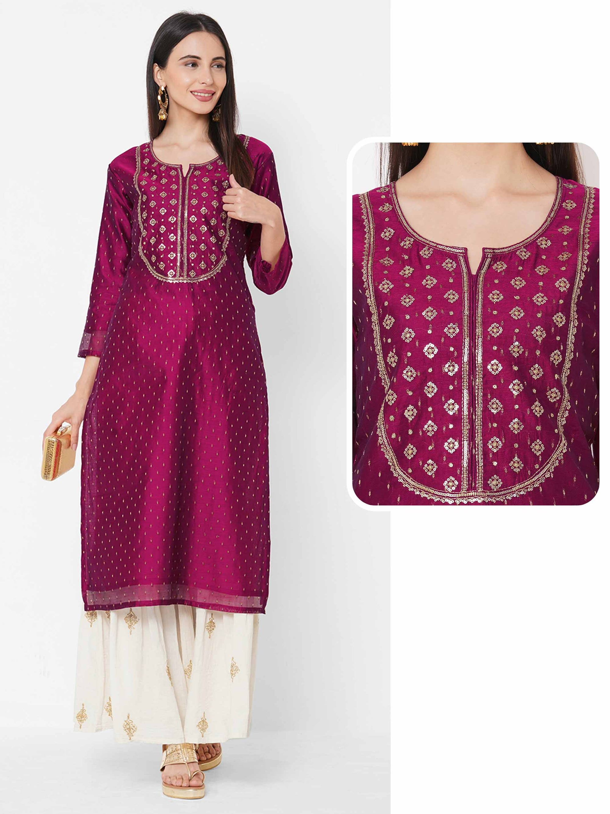 Ethnic Sequin Embellished Straight Kurta - Magenta