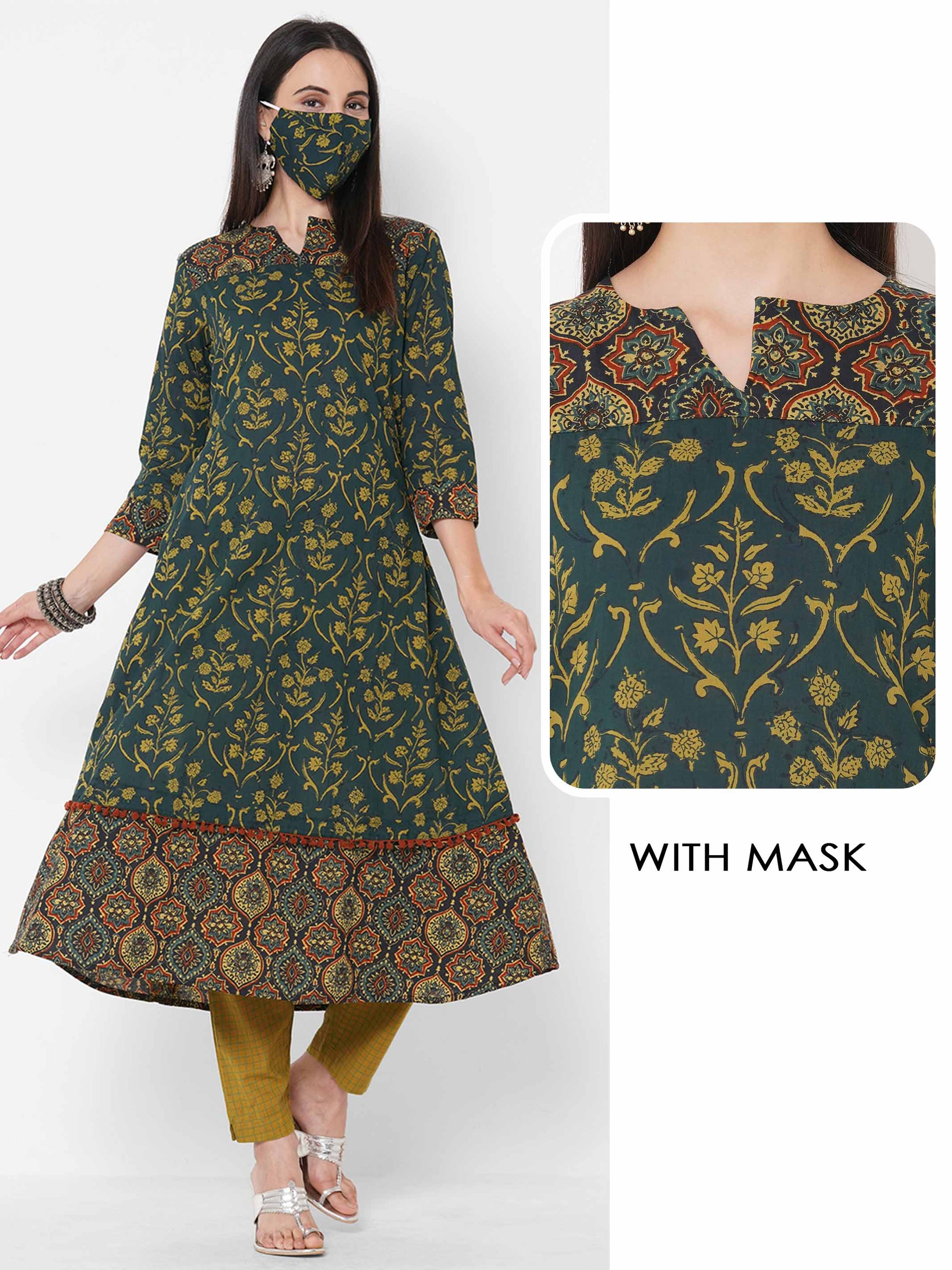 Ethnic Floral Mix Printed A-line Kurta with 2-Ply Mask - Green