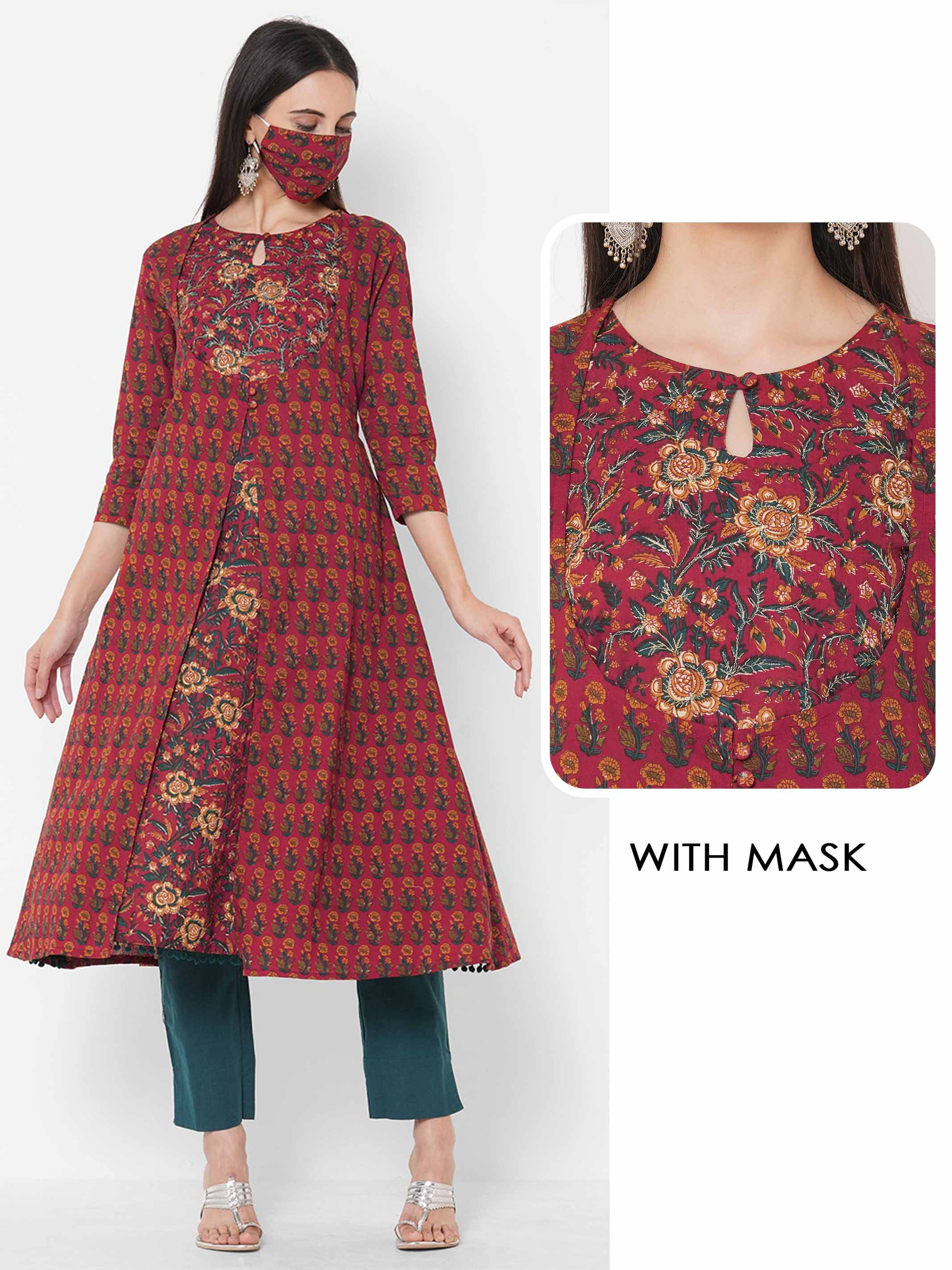 Floral Mix Printed A-line Kurta with 2-Ply Mask - Maroon