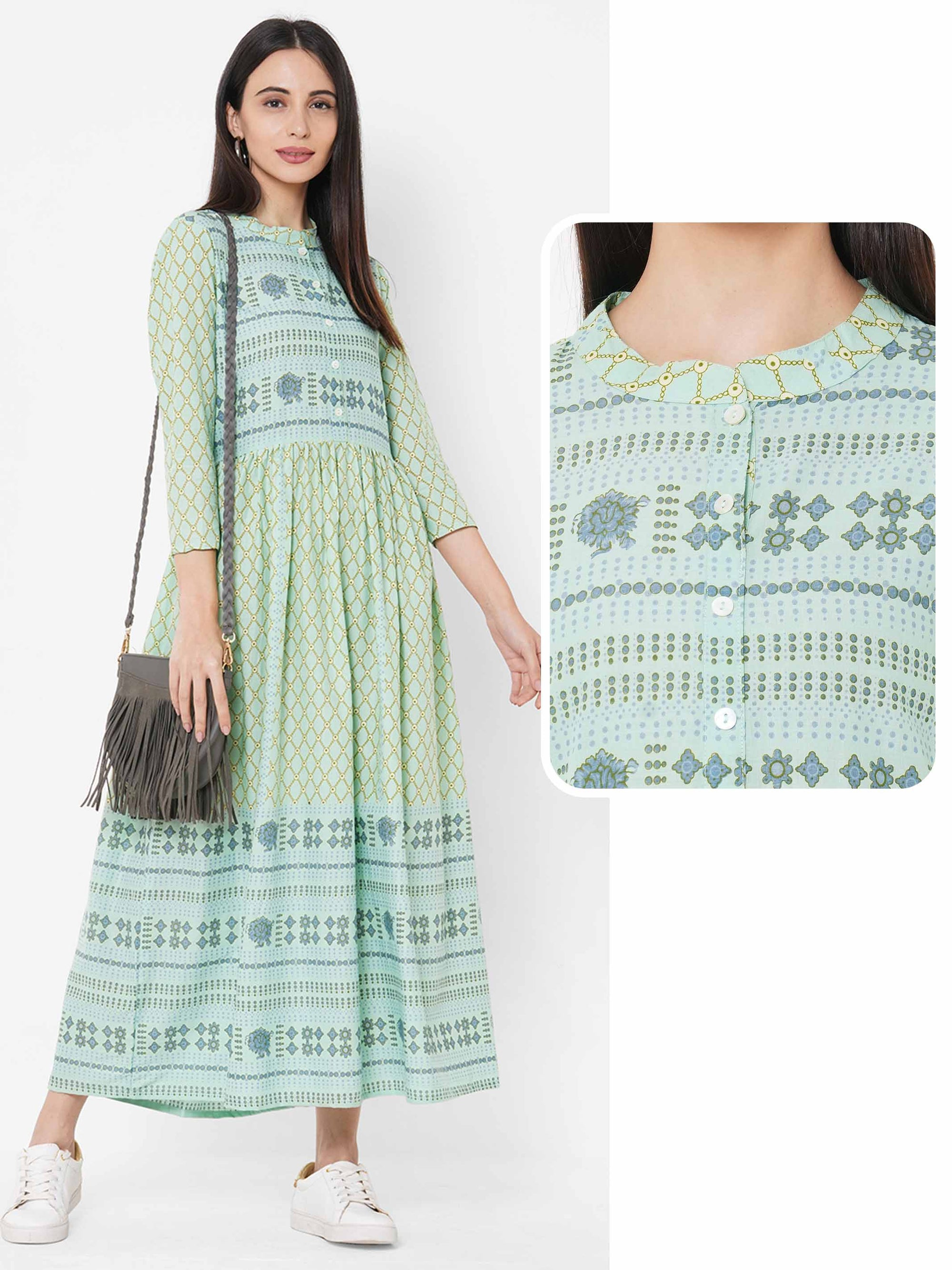 Ethnic Dense Printed Gathered Kurta – Green
