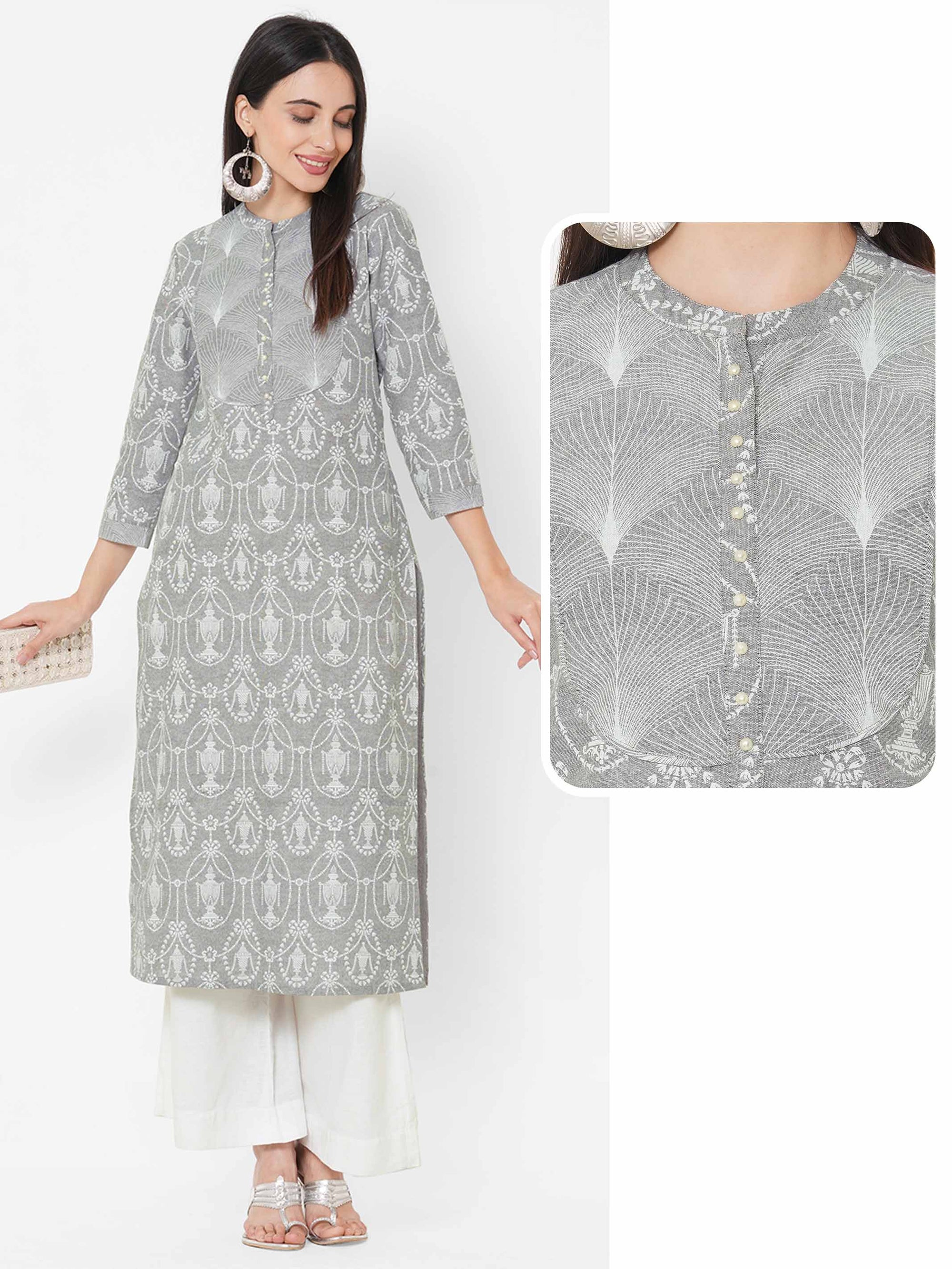 Ethnic Khari Mix Printed Kurta – Grey