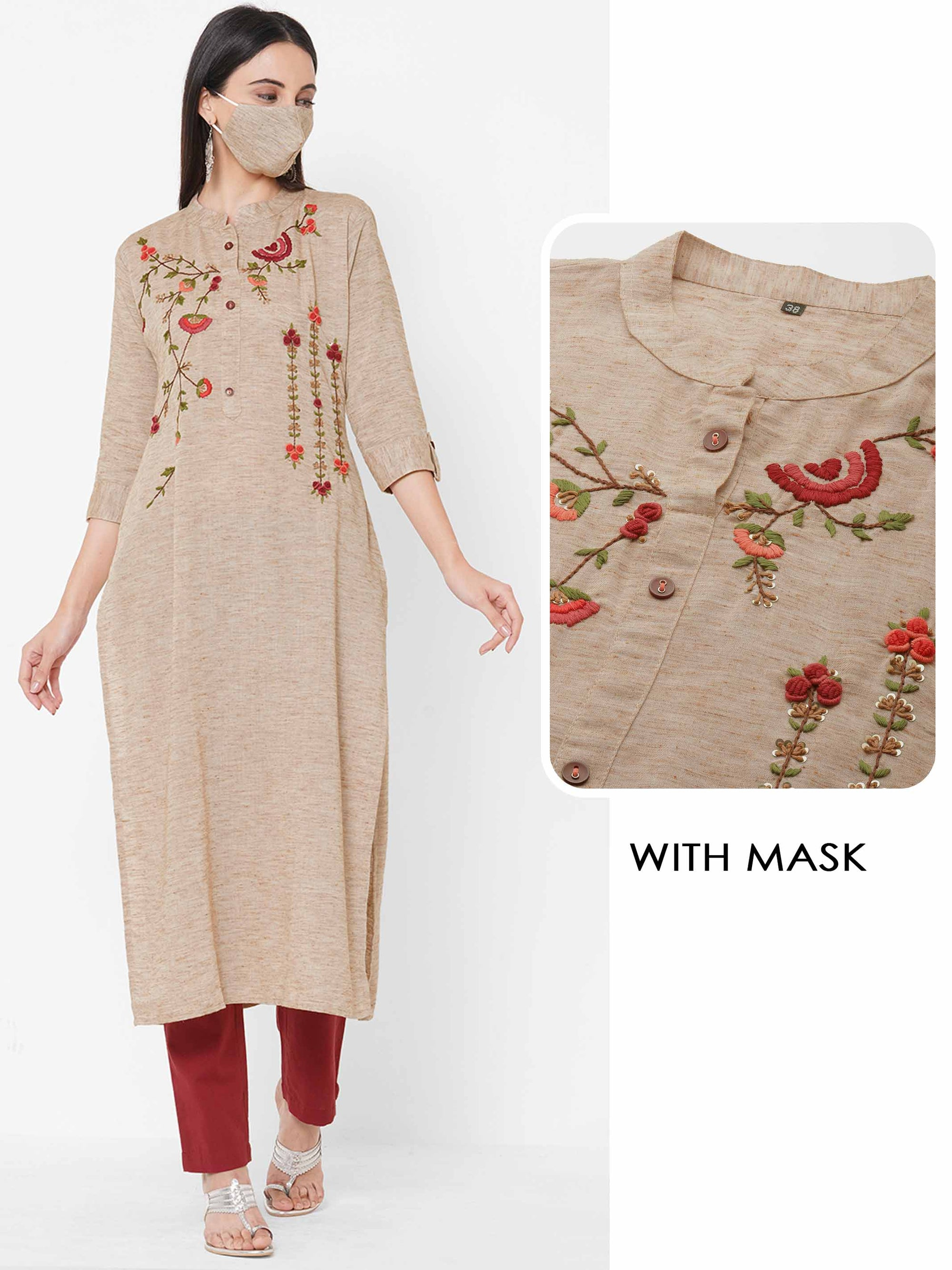 Floral Embroidered straight Kurta with 2-Ply Mask - Beige