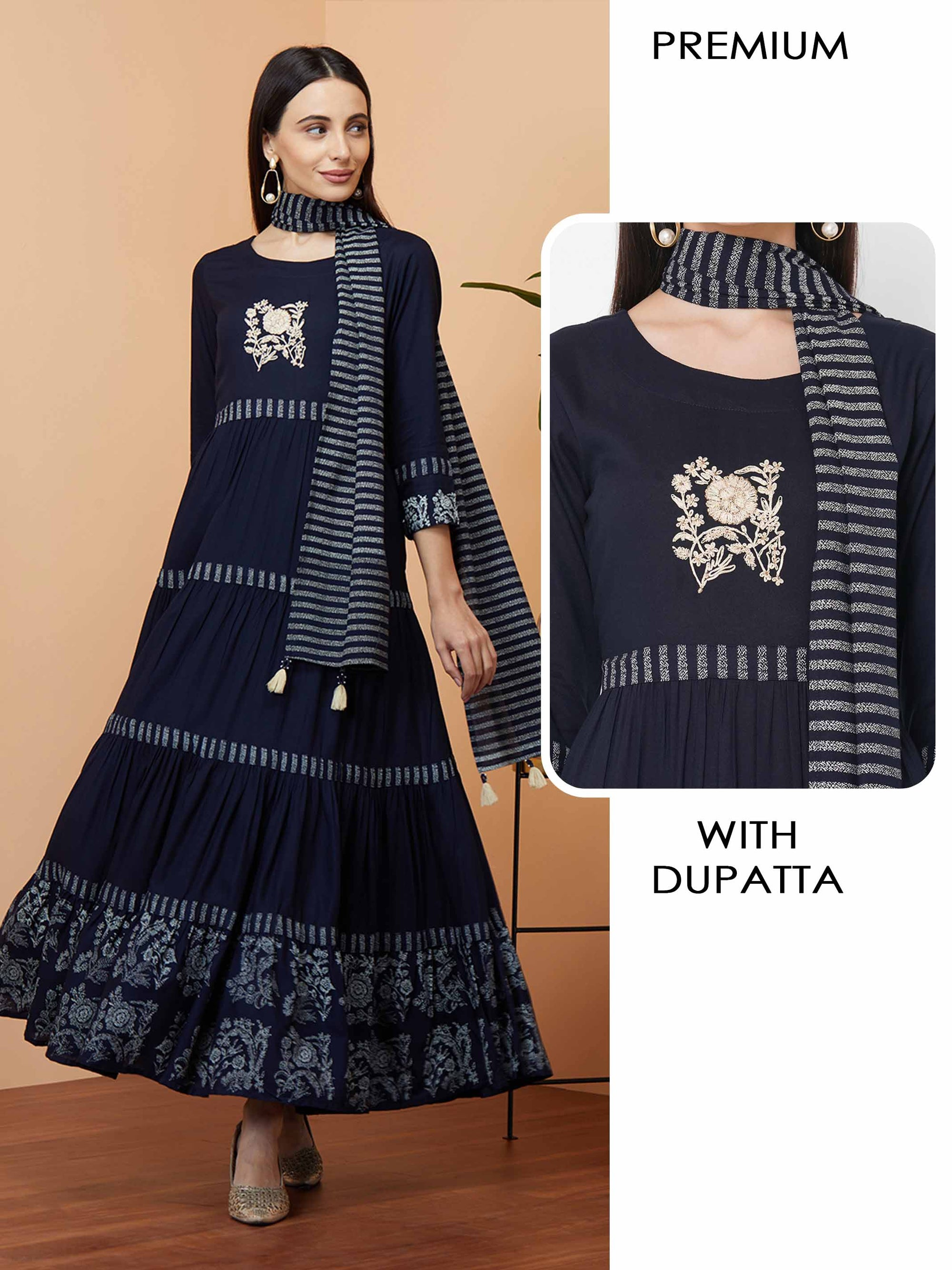 Foil printed & Embroidered Tiered Maxi with Printed Dupatta - Navy Blue