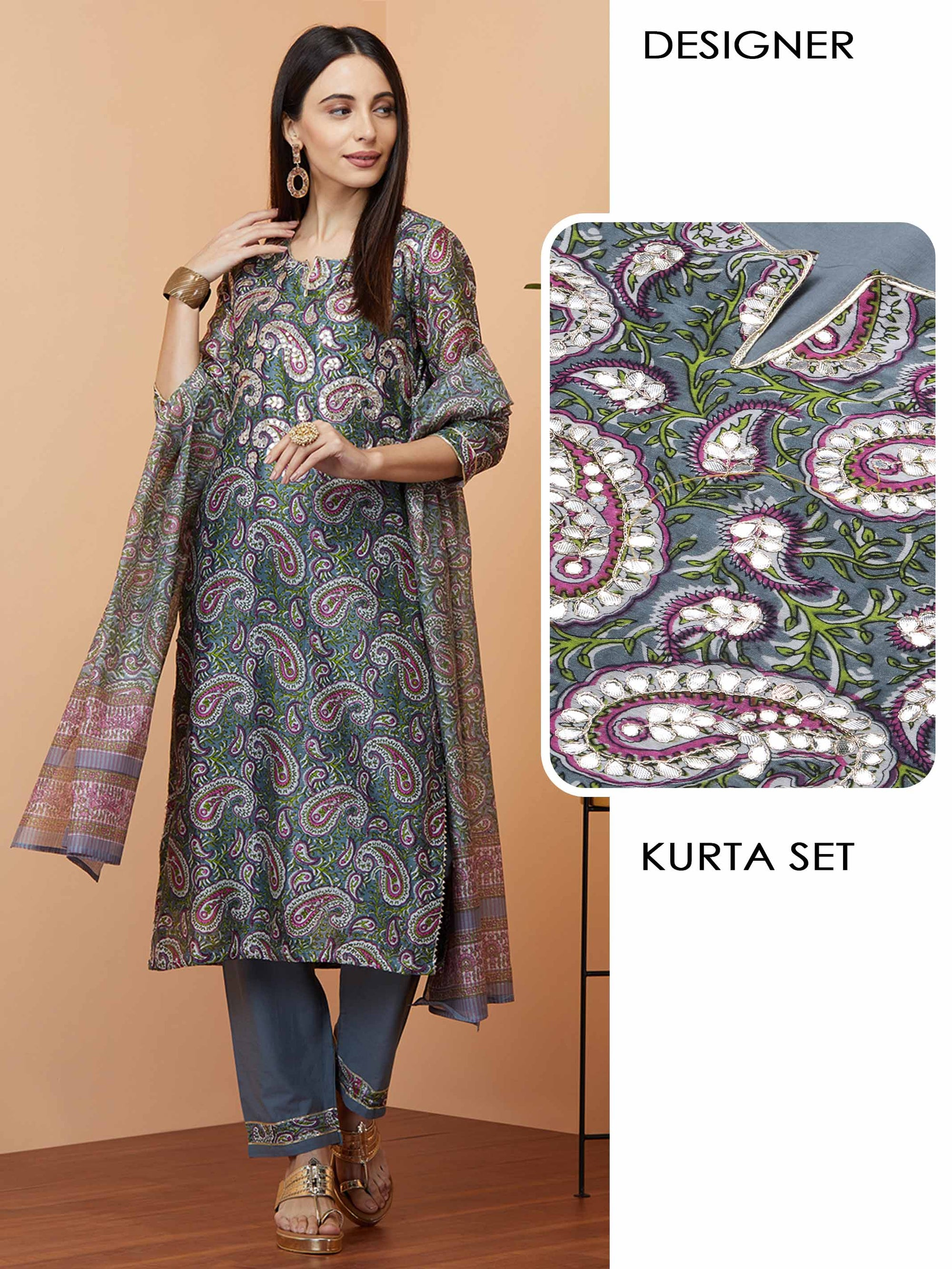 Dense Printed & Gota-Patti Embroidered Kurta with Solid Pant & Printed Dupatta – Grey