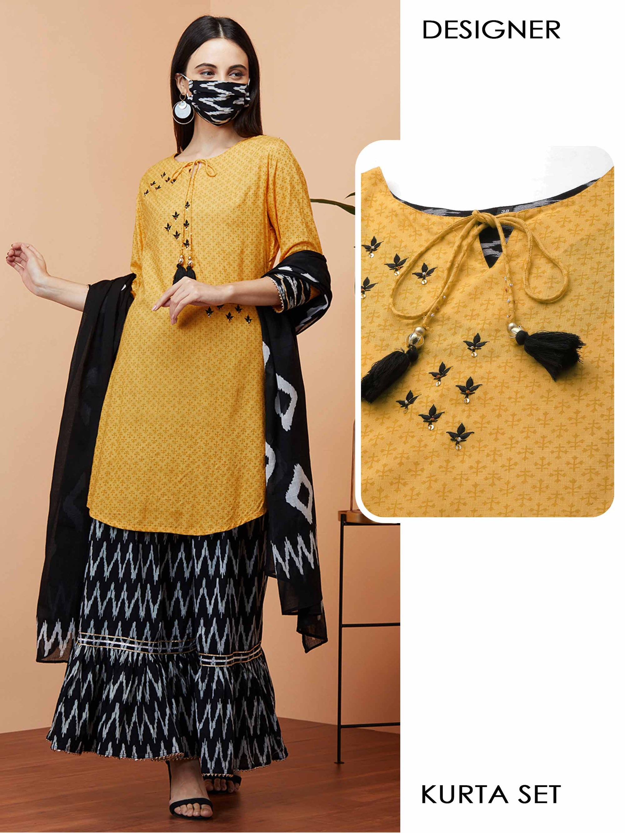 Dense Floral Printed & Embroidered Kurta with Ikat printed Sharara with Ikat printed Dupatta & 2-Ply Mask - Mustard