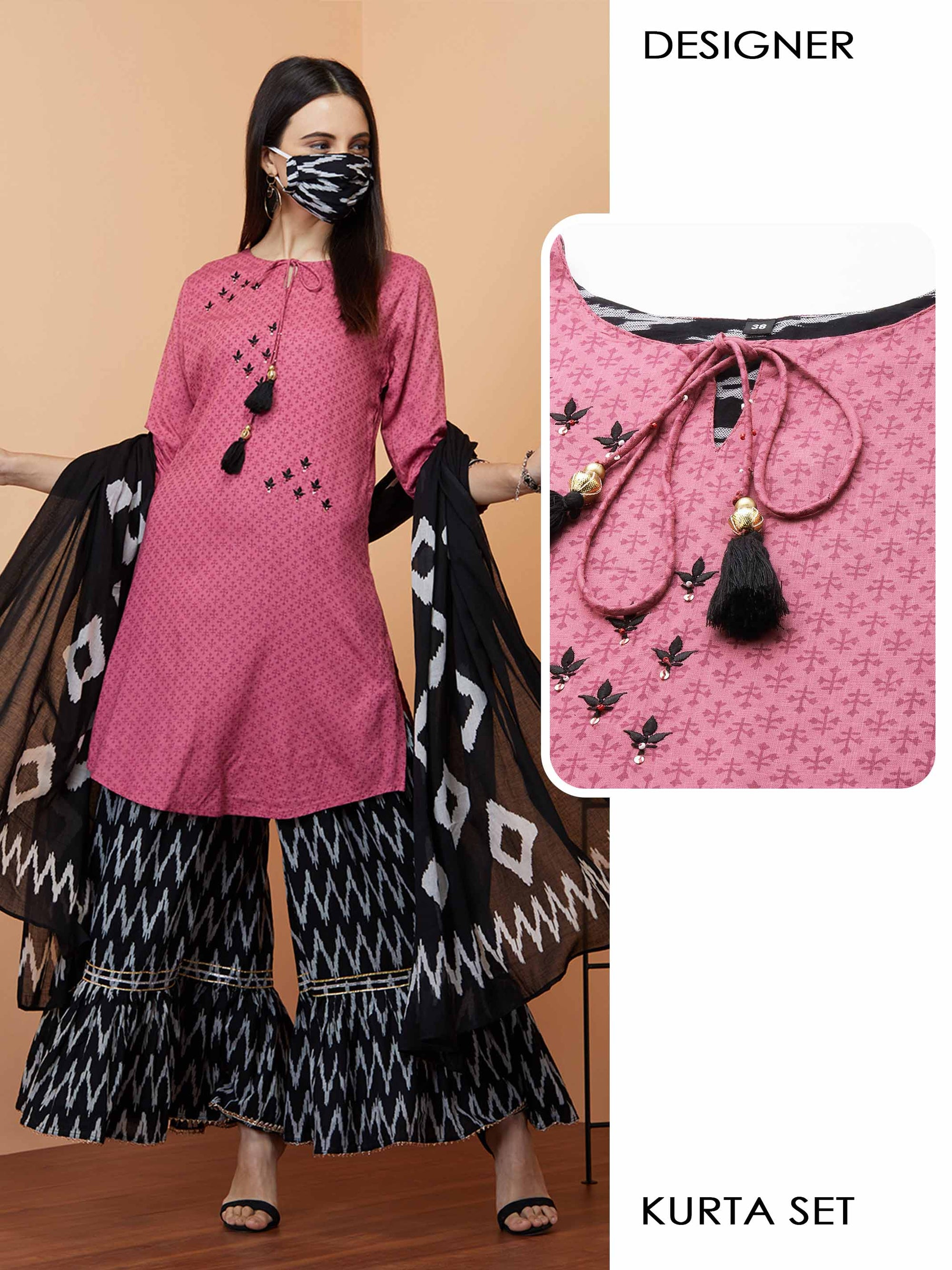 Dense Floral Printed & Embroidered Kurta with Ikat printed Sharara with Ikat printed Dupatta & 2-Ply Mask - Pink