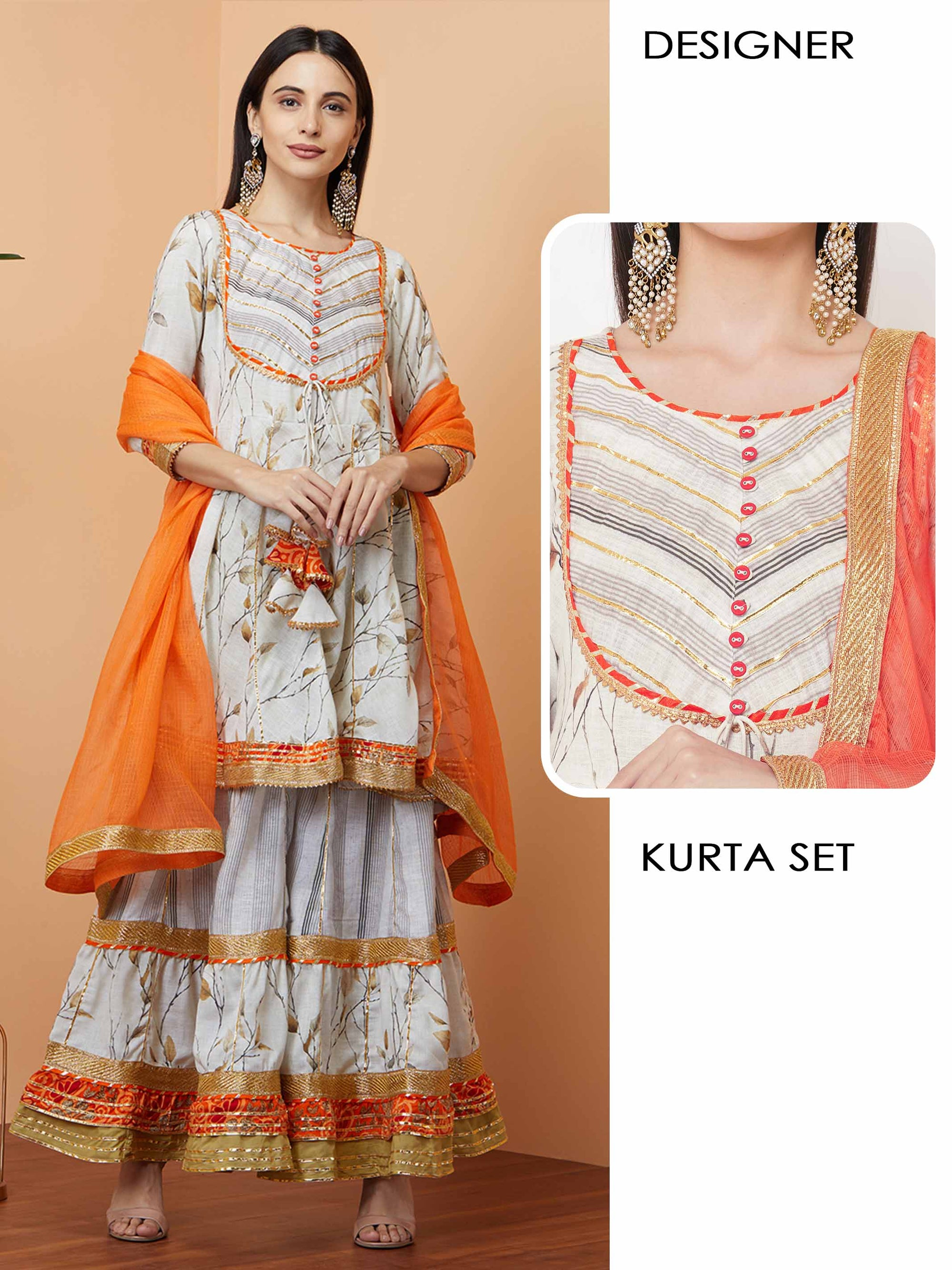 Floral Printed Flared Kurta with Mix Printed Sharara with Solid Dupatta - Off- White