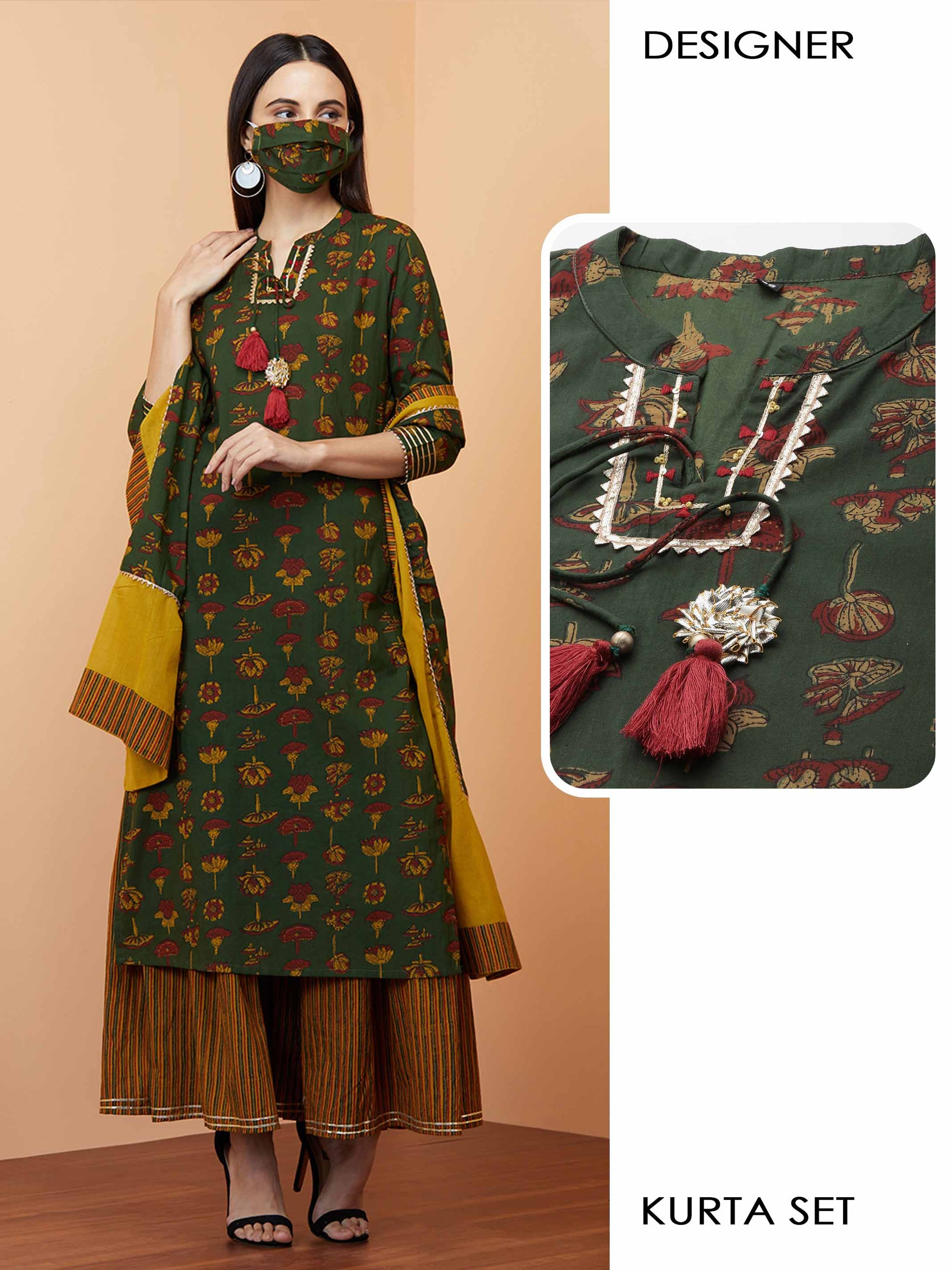 Floral Printed Kurta with Stripe printed Sharara with Solid Dupatta & 2-Ply Mask - Green