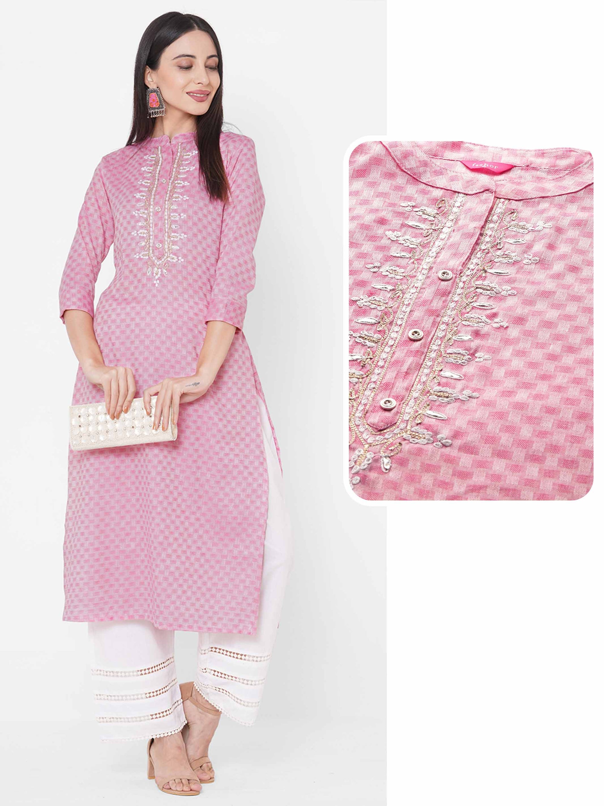 Ethnic Embroidered Straight Kurta - Pink