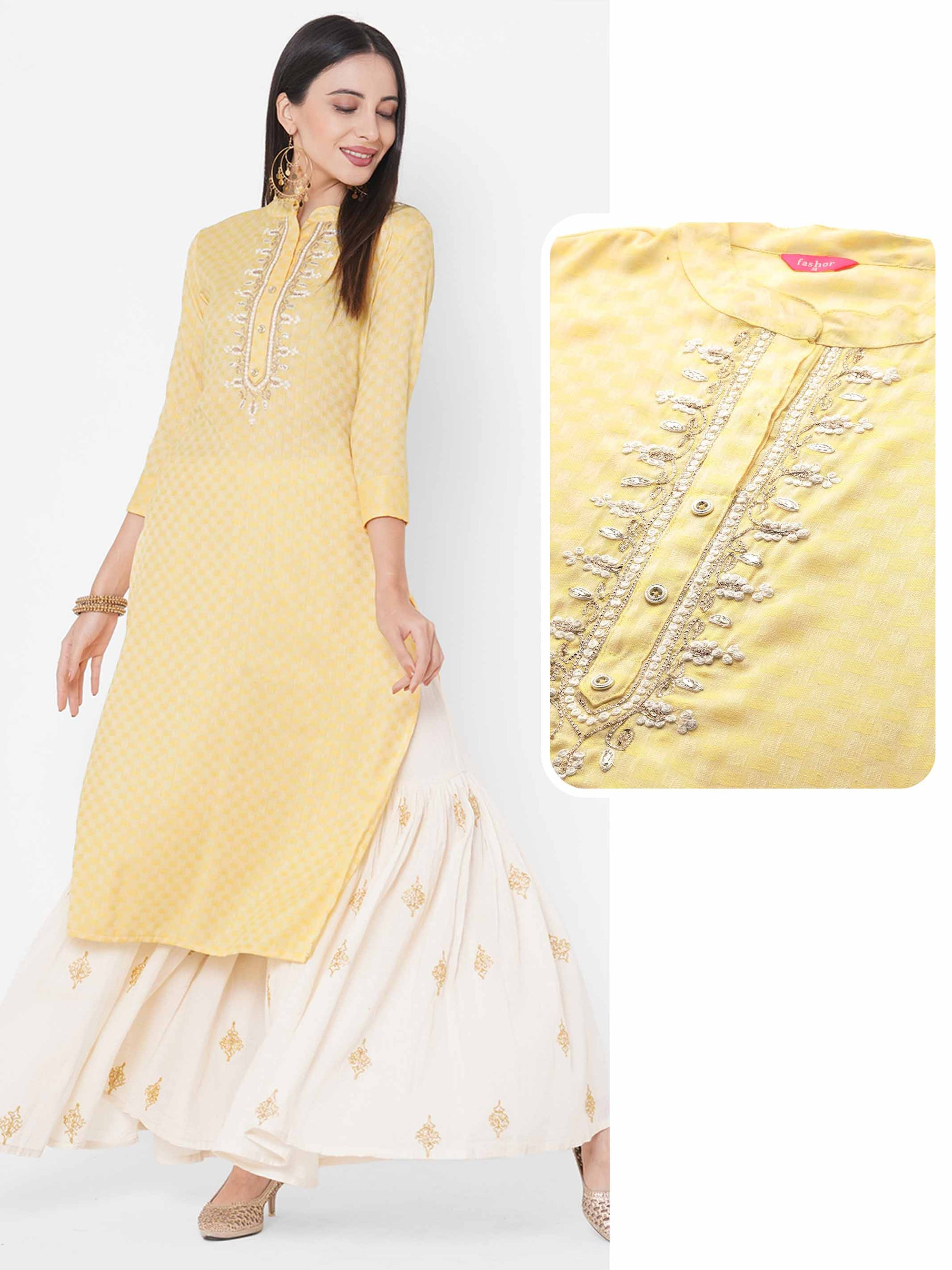 Ethnic Embroidered Straight Kurta - Yellow