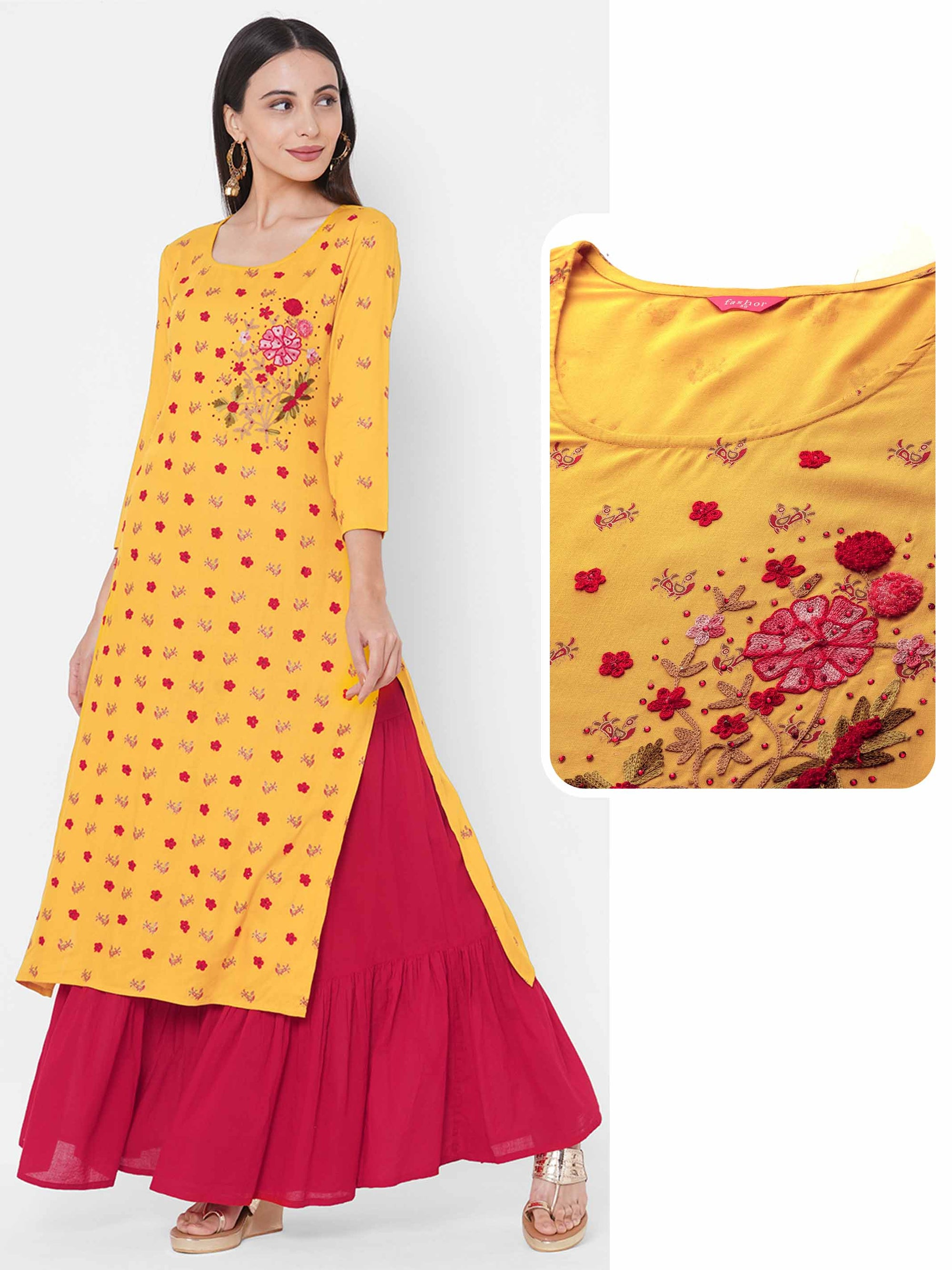 Floral Embroidered Straight Kurta - Yellow