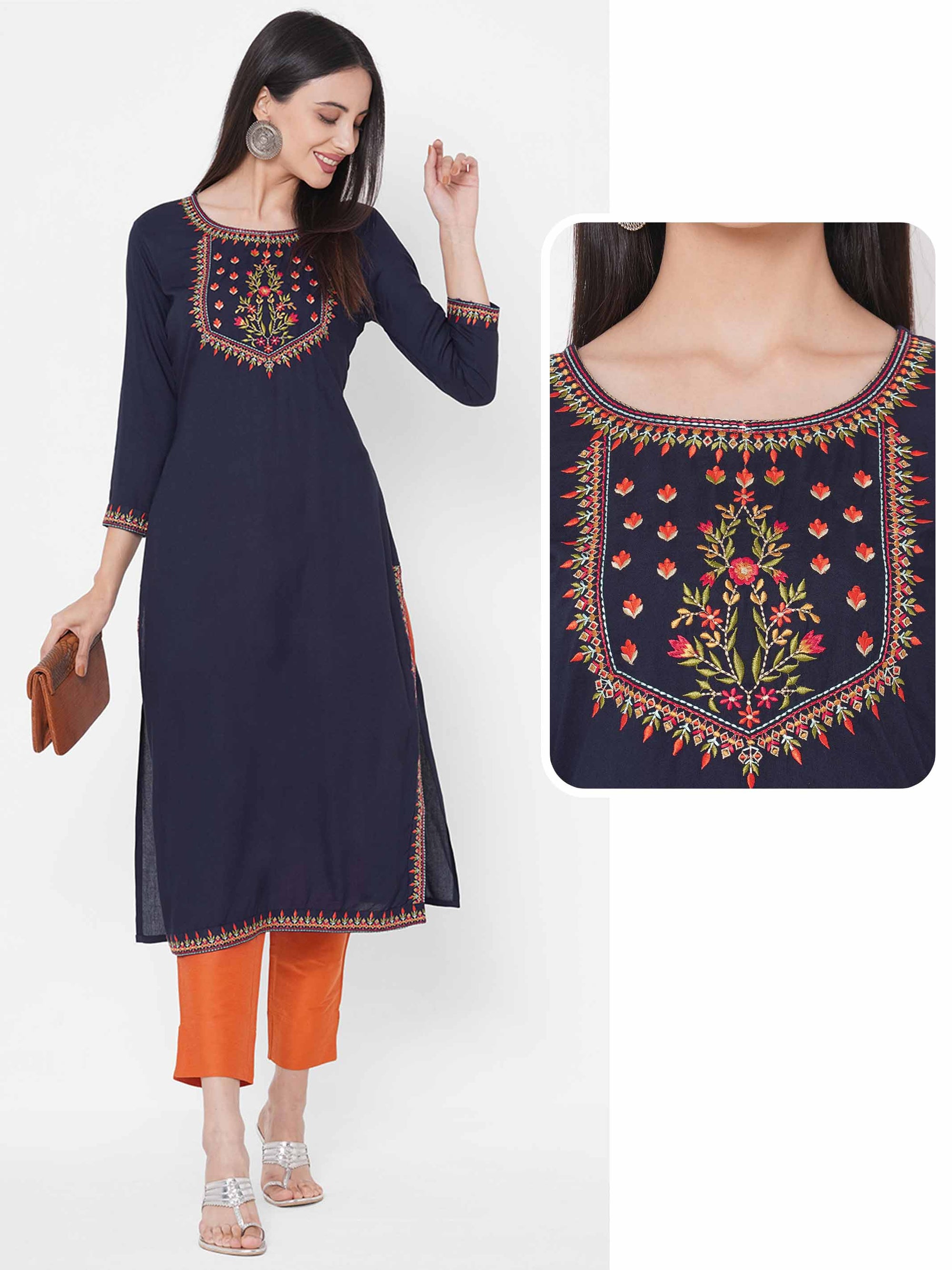 Floral Embroidered Yoke Straight Kurta - Navy Blue