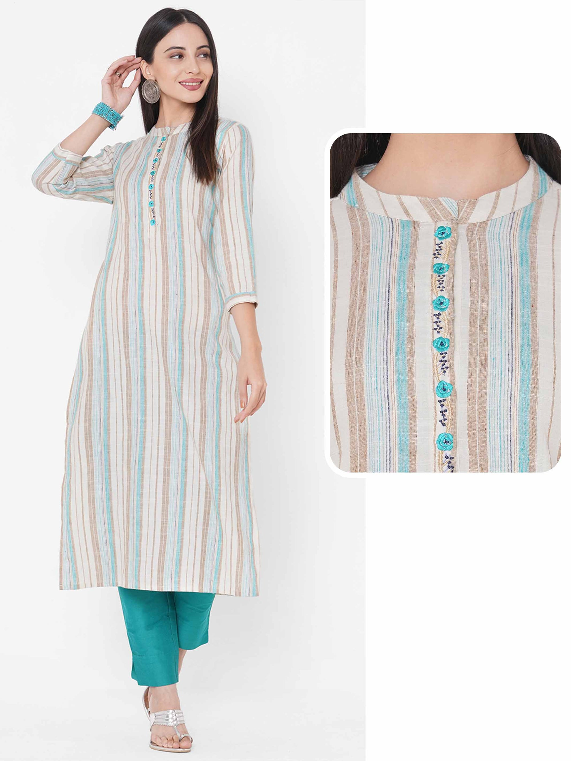 Woven Multi color Striped Straight Kurta - Off-white