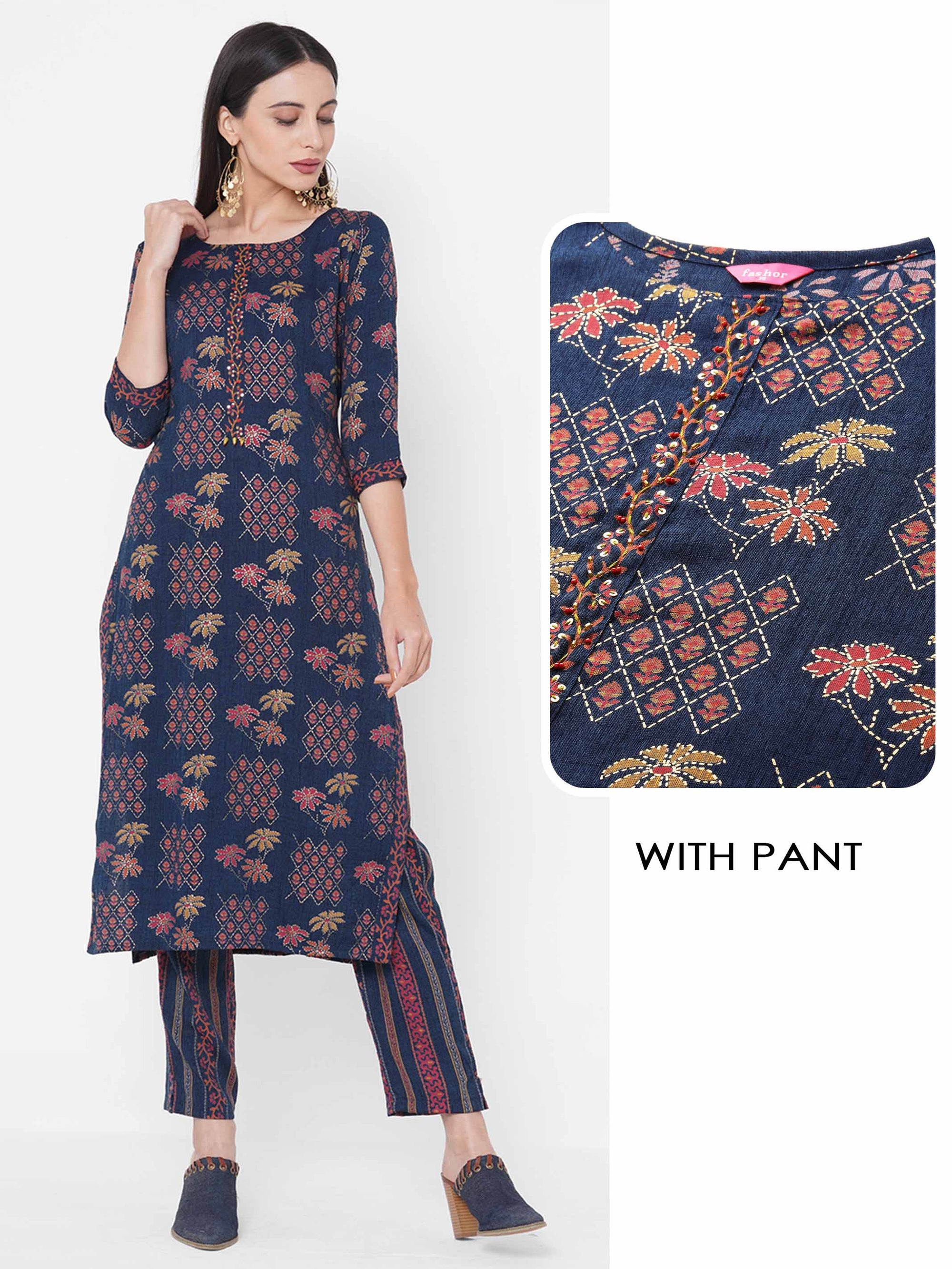 Ethnic Floral Mix Printed Kurta with Ethnic Stripe Printed Pant - Blue