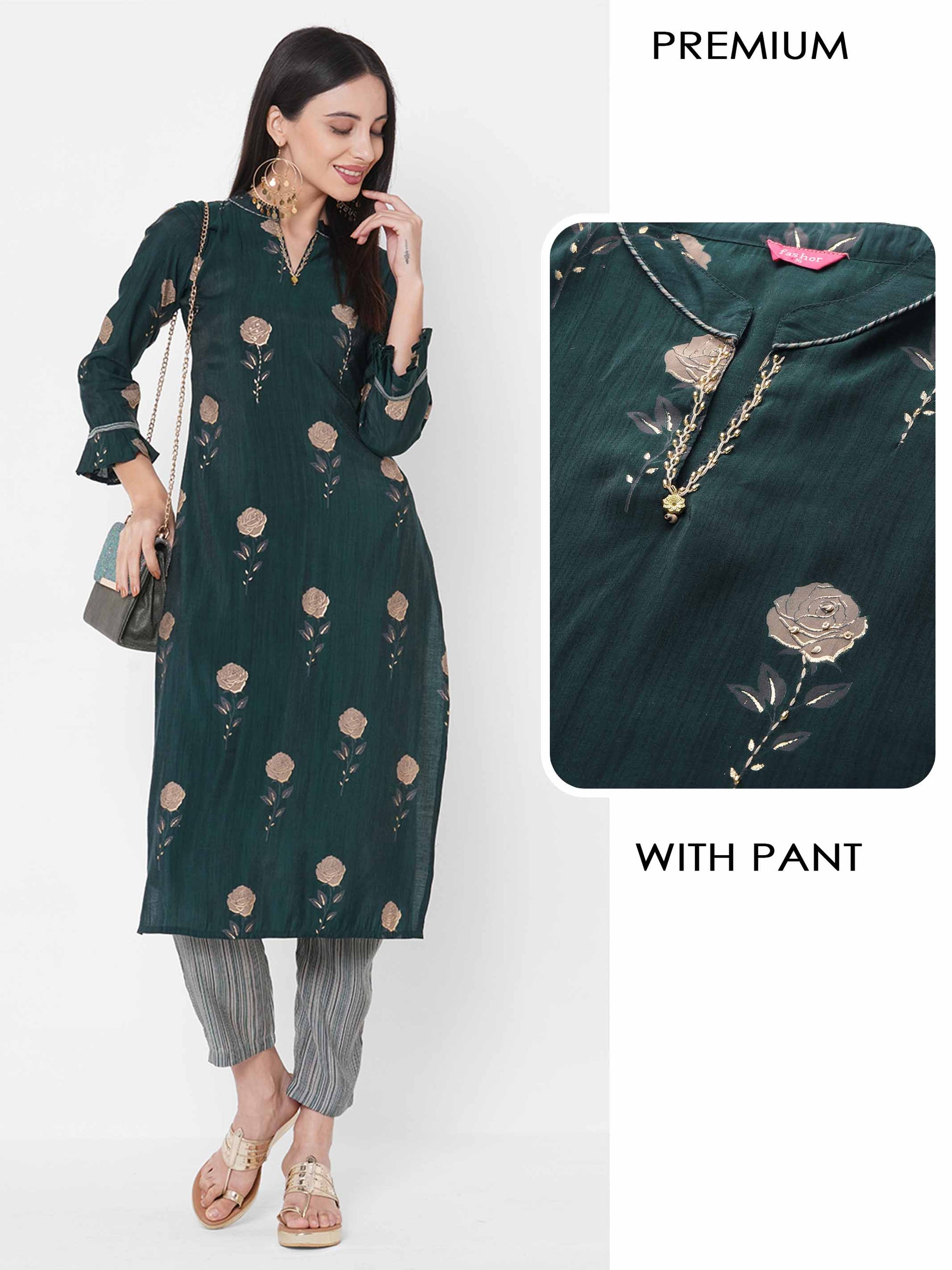 Rose Printed & Embroidered Kurta with Stripe Printed Pant – Bottle Green