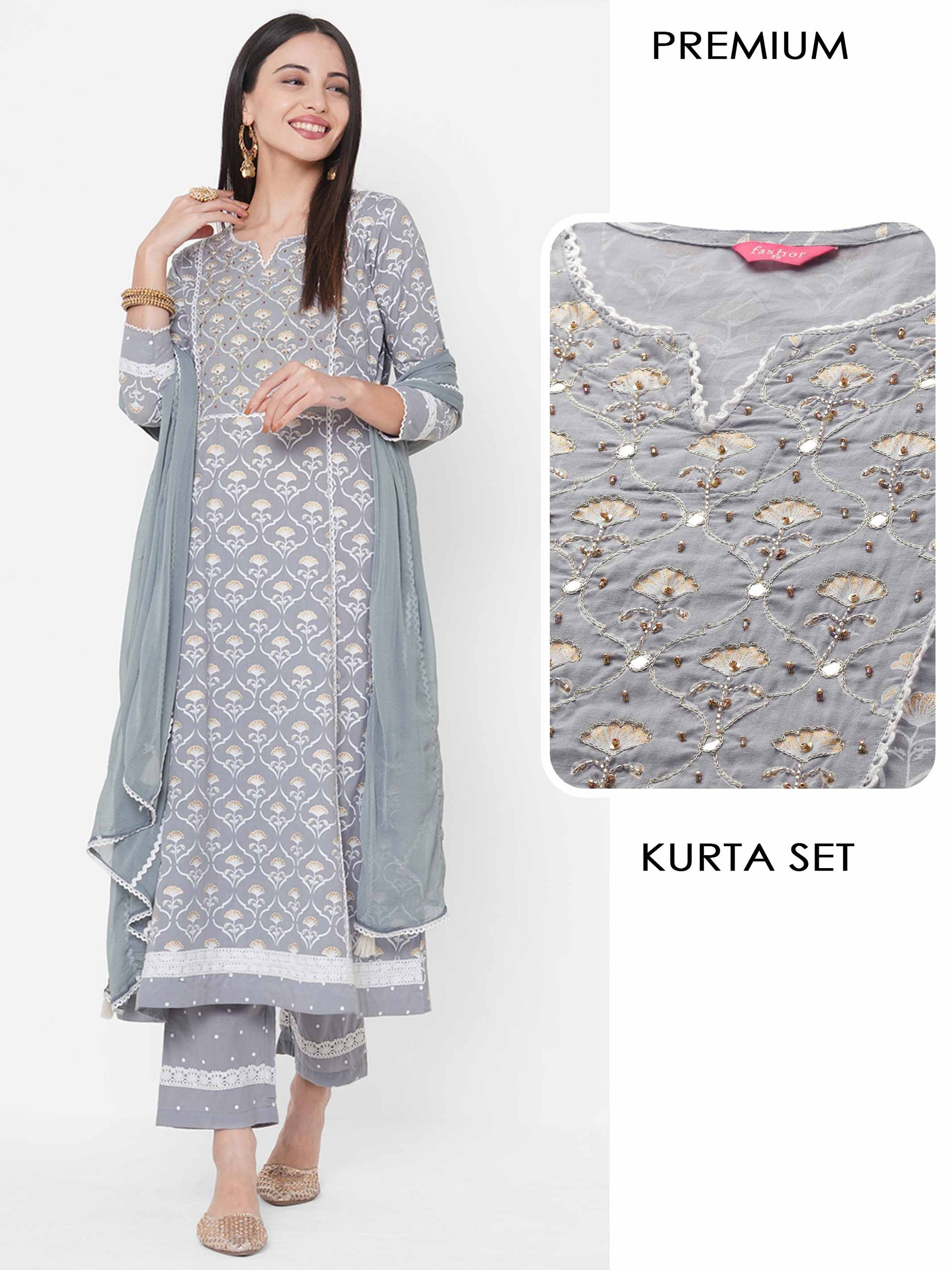Mix Printed & Embroidered Kurta with Polka Dot Pant & Matching Dupatta – Grey