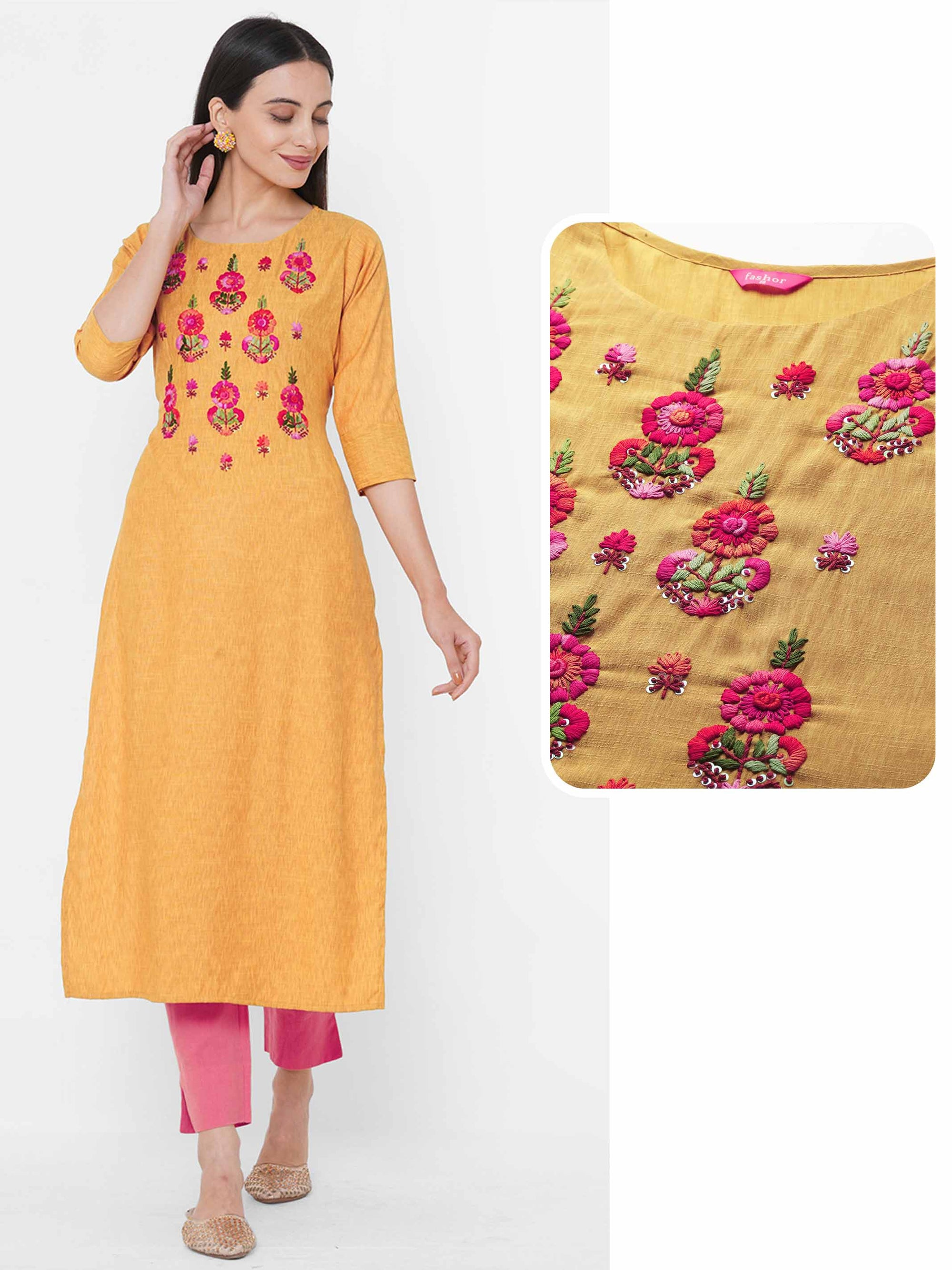 Floral Embroidered Yoke Straight Kurta - Mustard