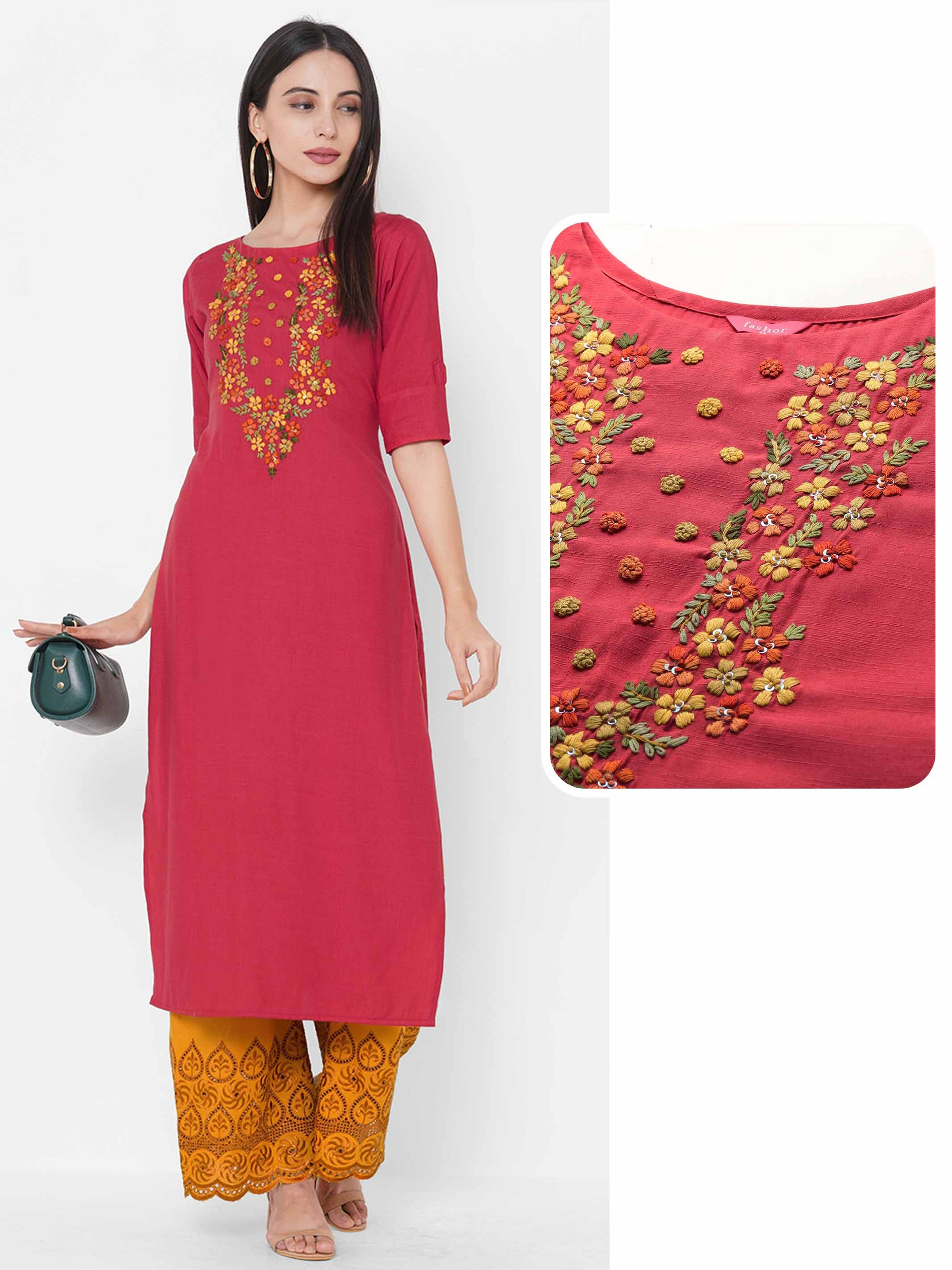 Floral Embroidered Yoke Straight Kurta - Red