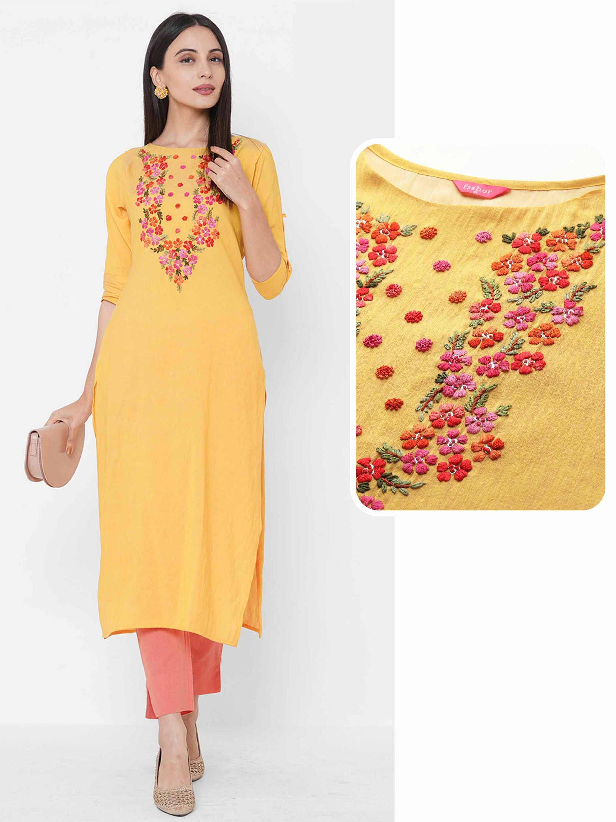 Floral Embroidered Yoke Straight Kurta - Yellow