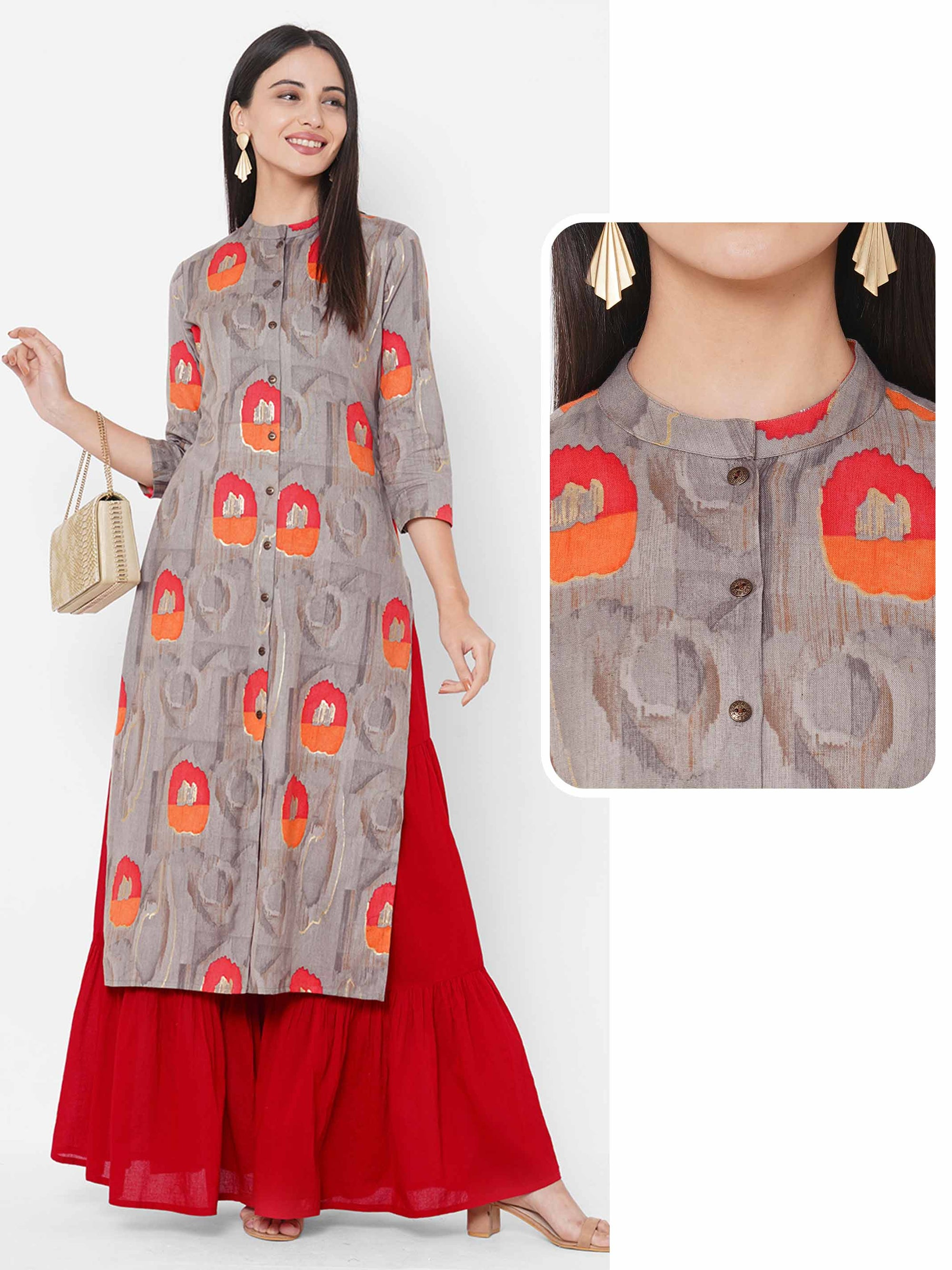 Ethnic Foil Printed Straight Kurta – Grey