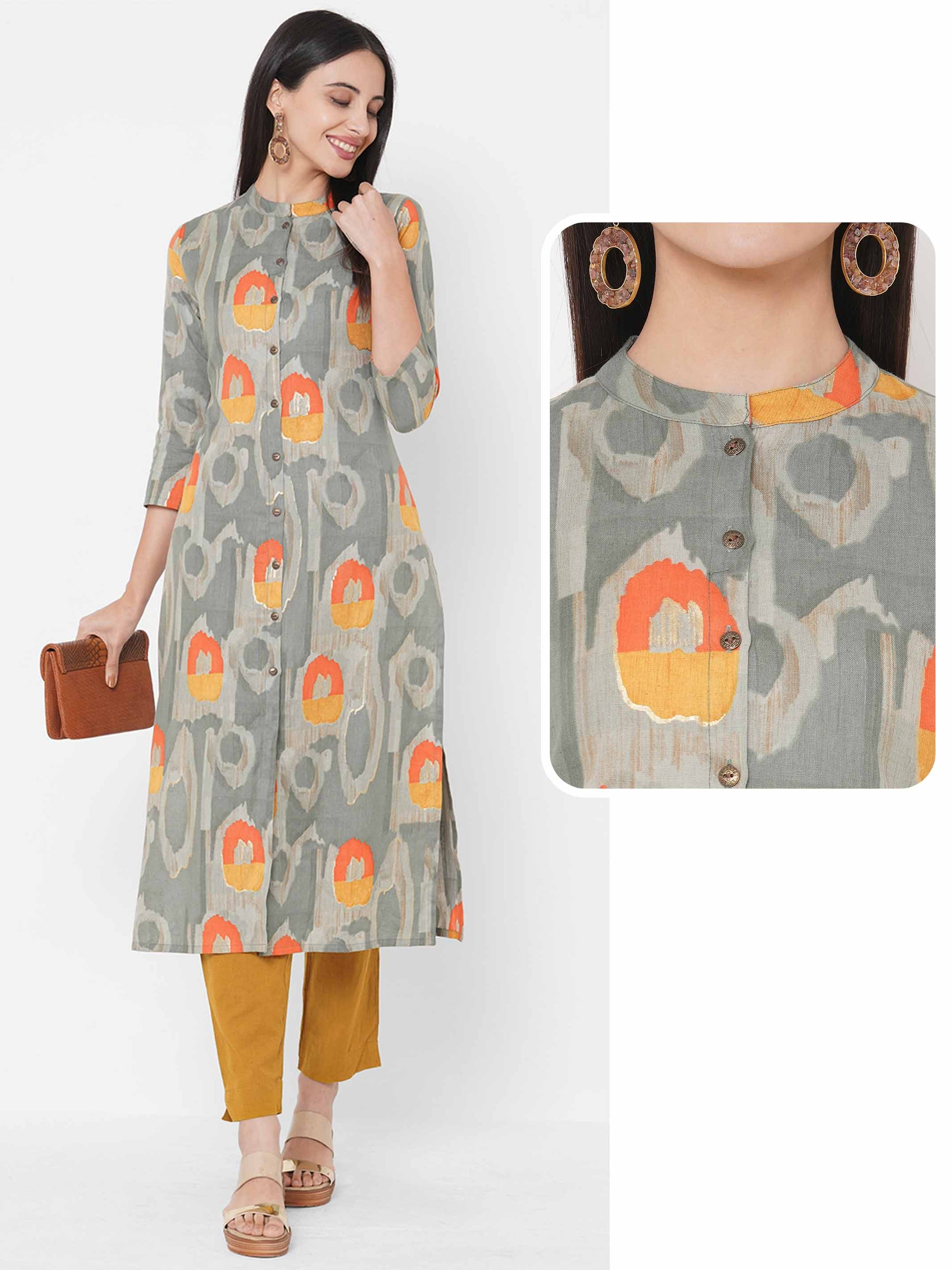 Ethnic Foil Printed Straight Kurta – Multi