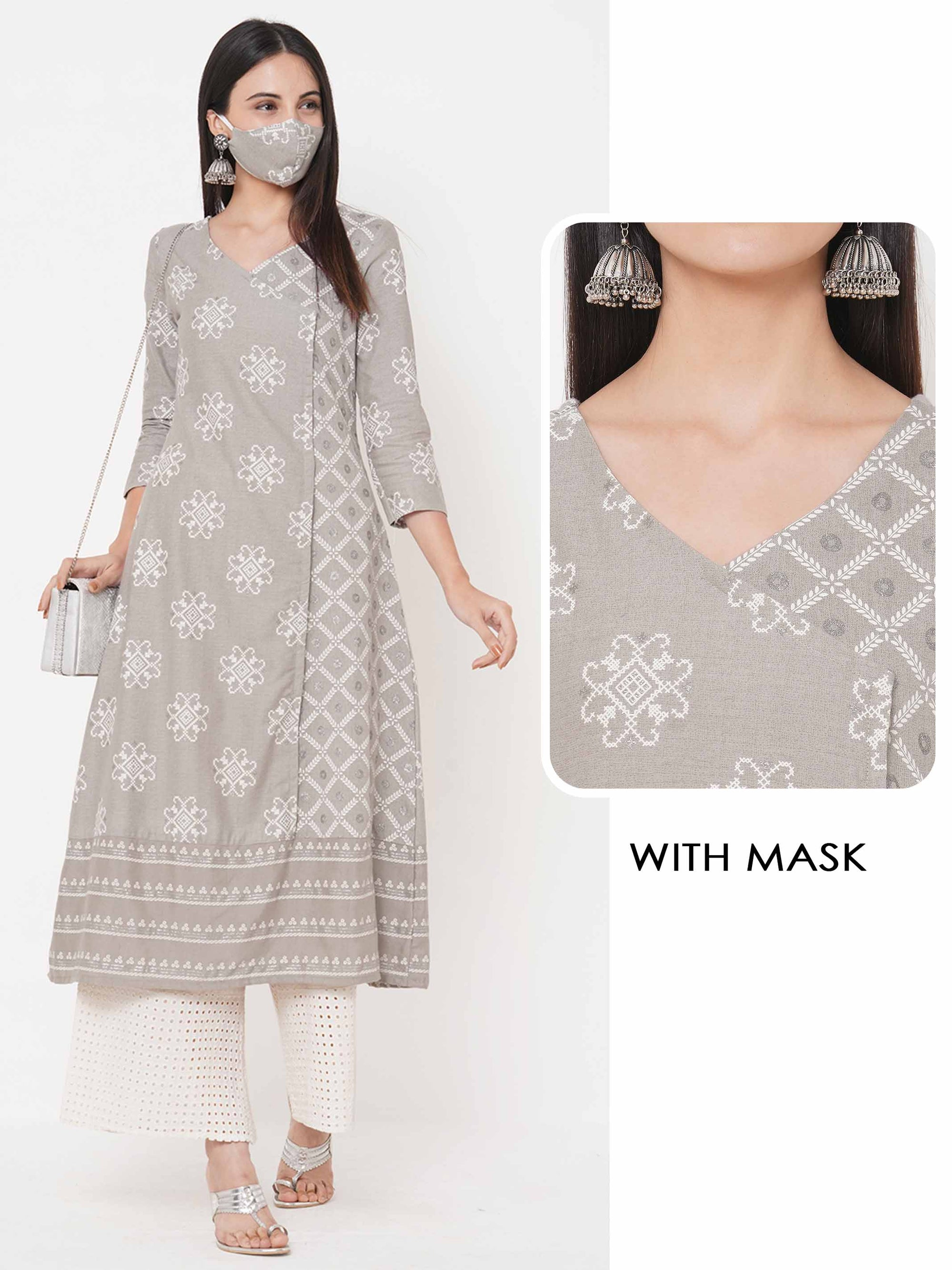 Ethnic Mix Printed Angarakha Style Kurta with Printed 2-Ply Mask – Grey