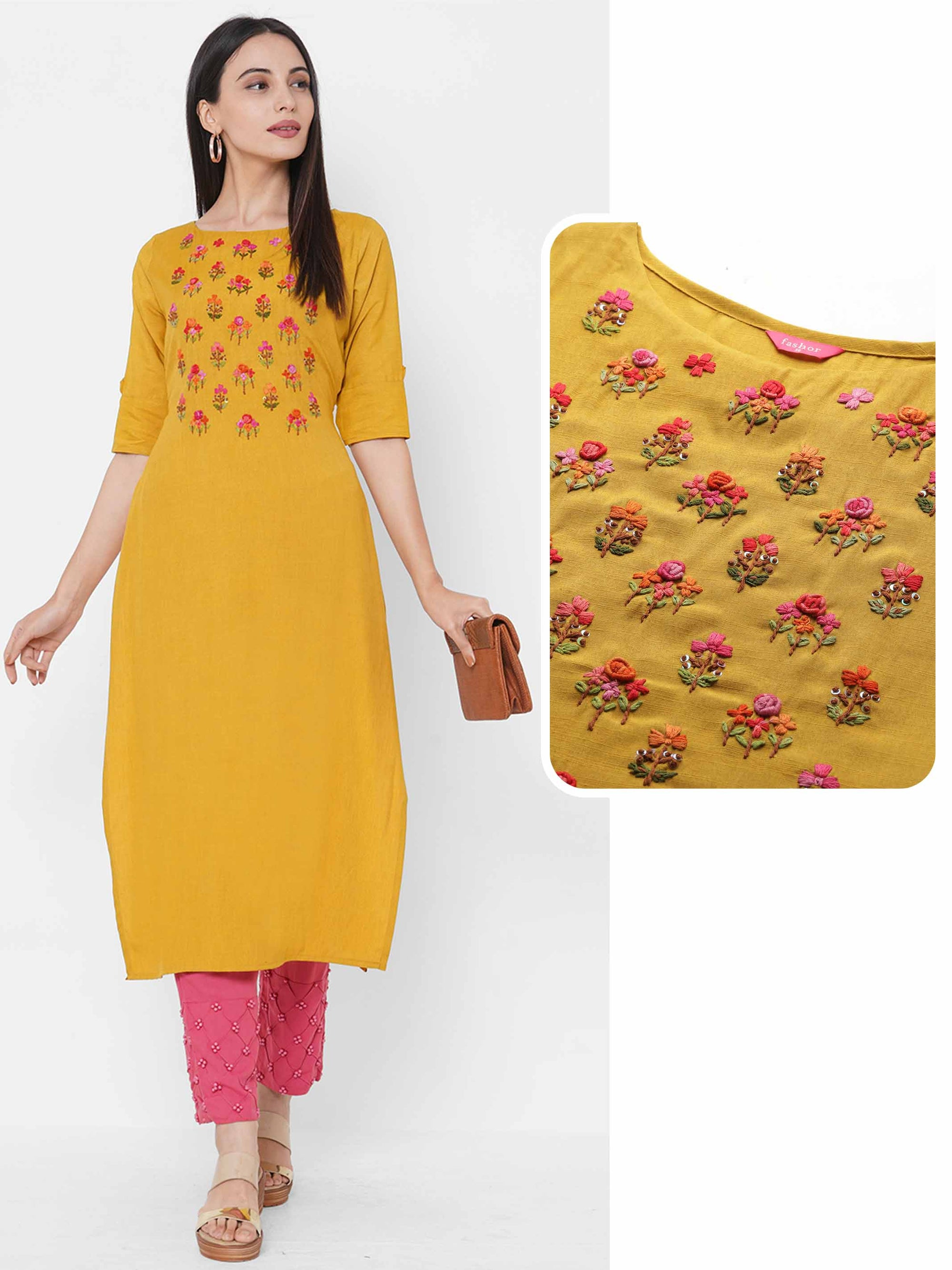 Bullion Knotted Floral Embroidered Yoke Straight Kurta - Mustard