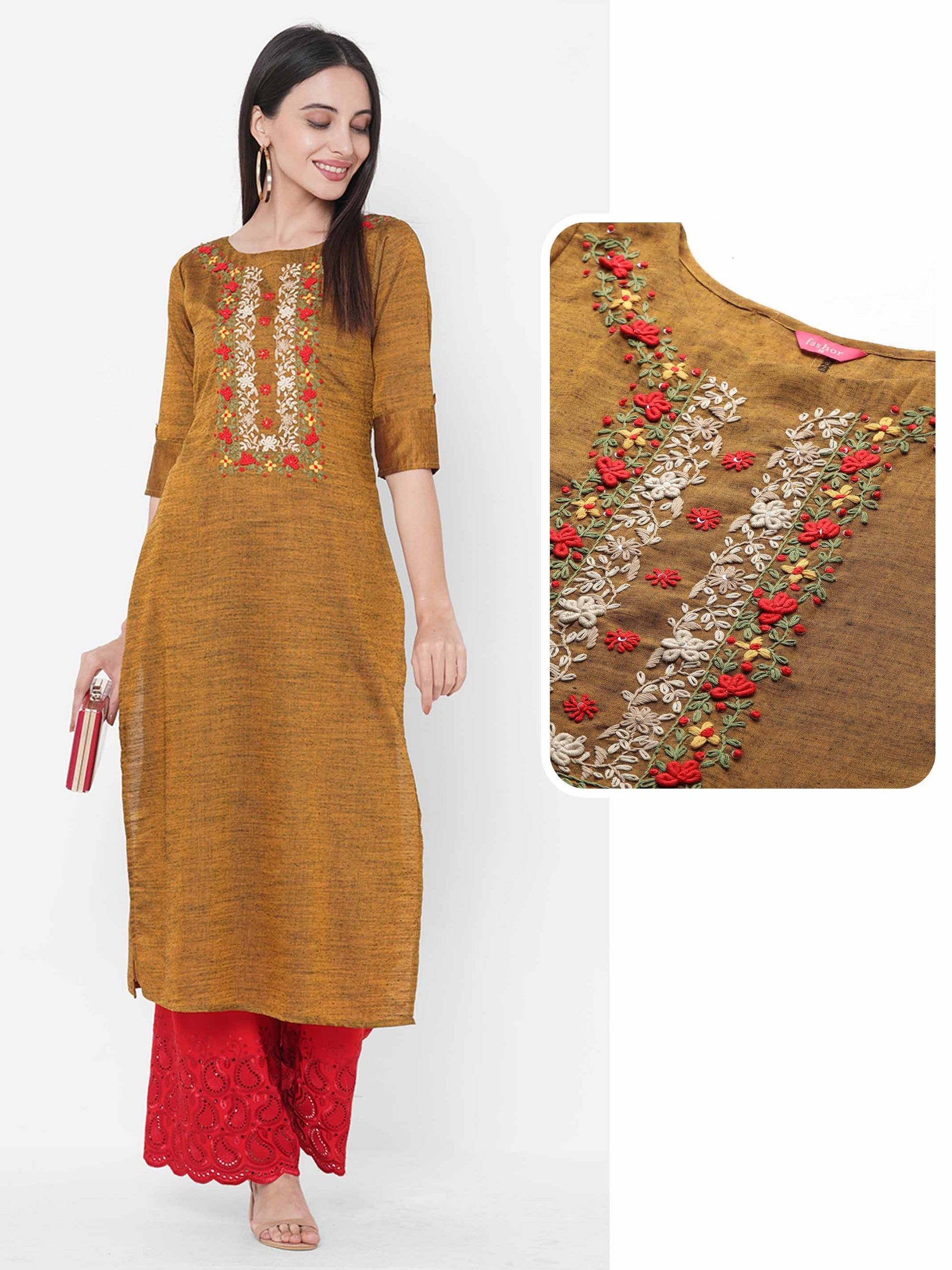 Floral Embroidered Yoke Straight Kurta - Camel Brown