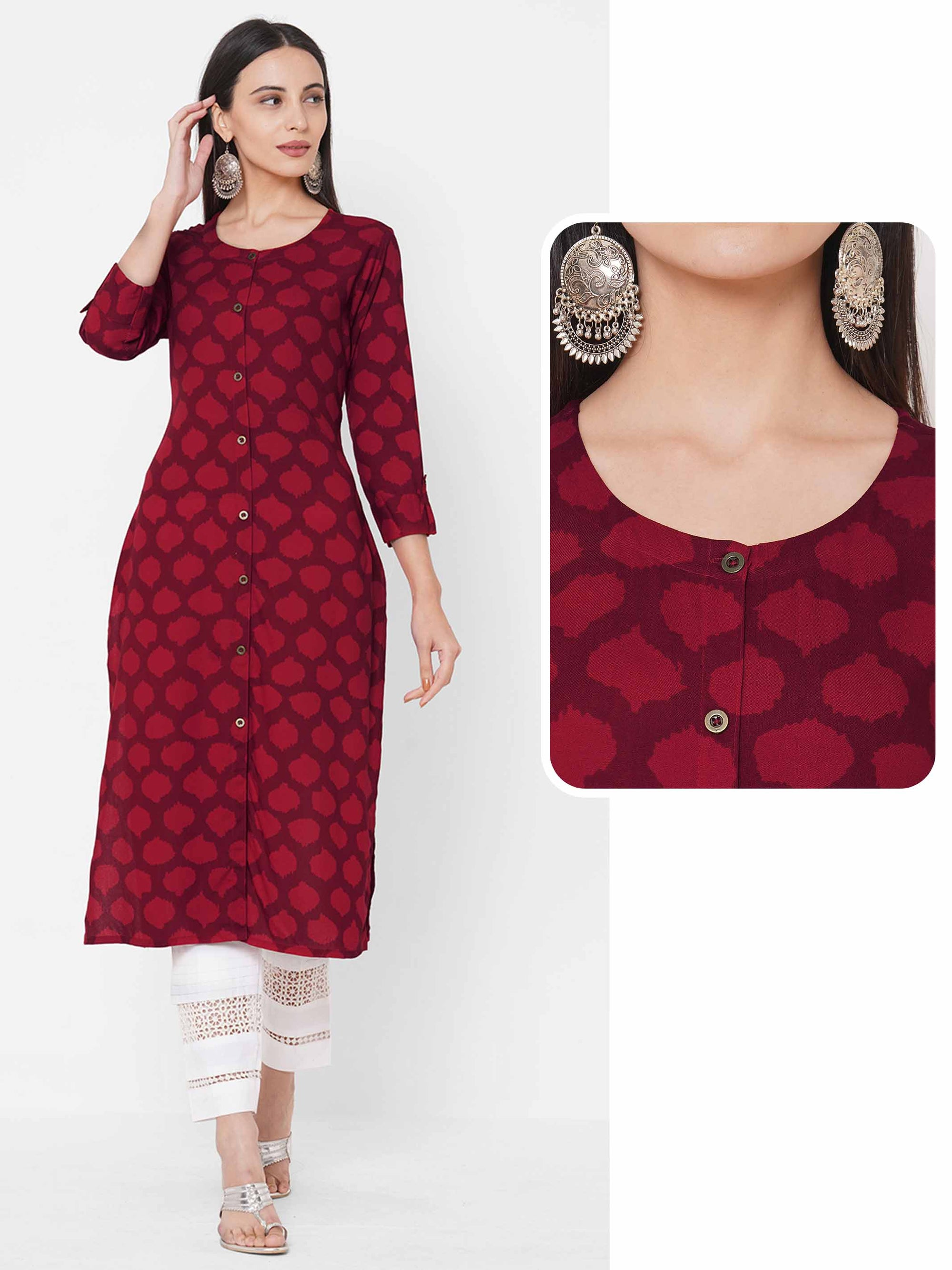 Shaded Ikat printed Straight Kurta – Red