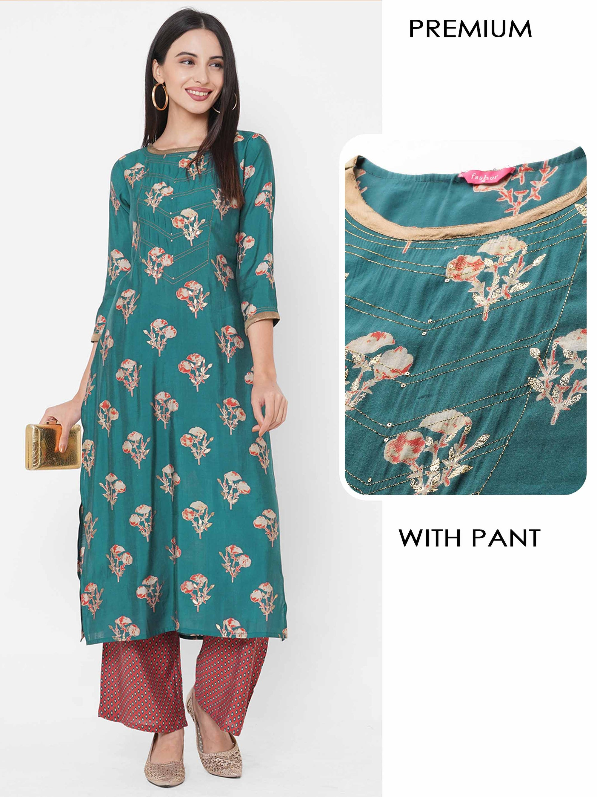 Floral Foil Printed Straight Kurta with Dense Printed Pant – Teal