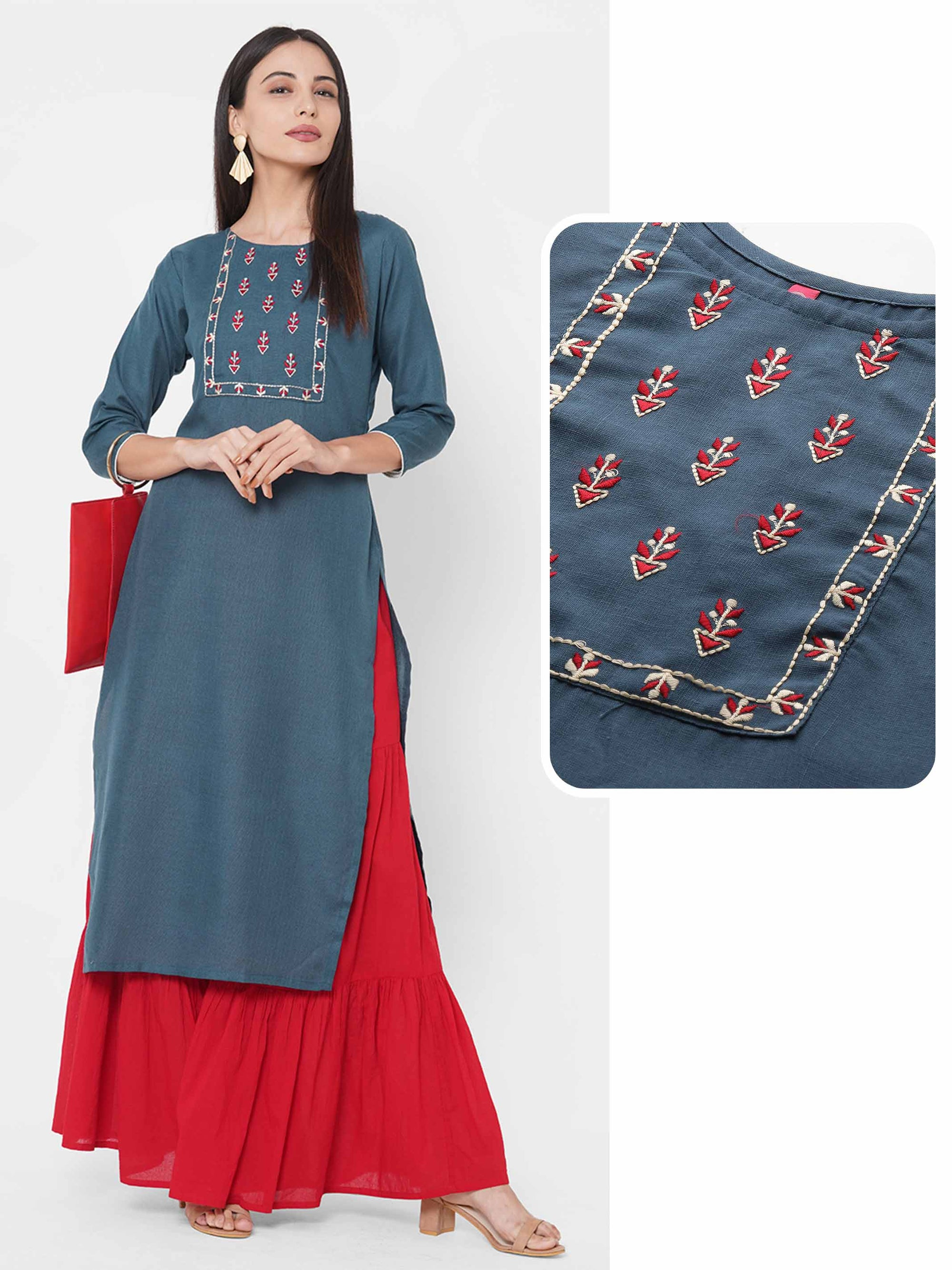 Ethnic Embroidered Yoke Straight Kurta – Steel Blue