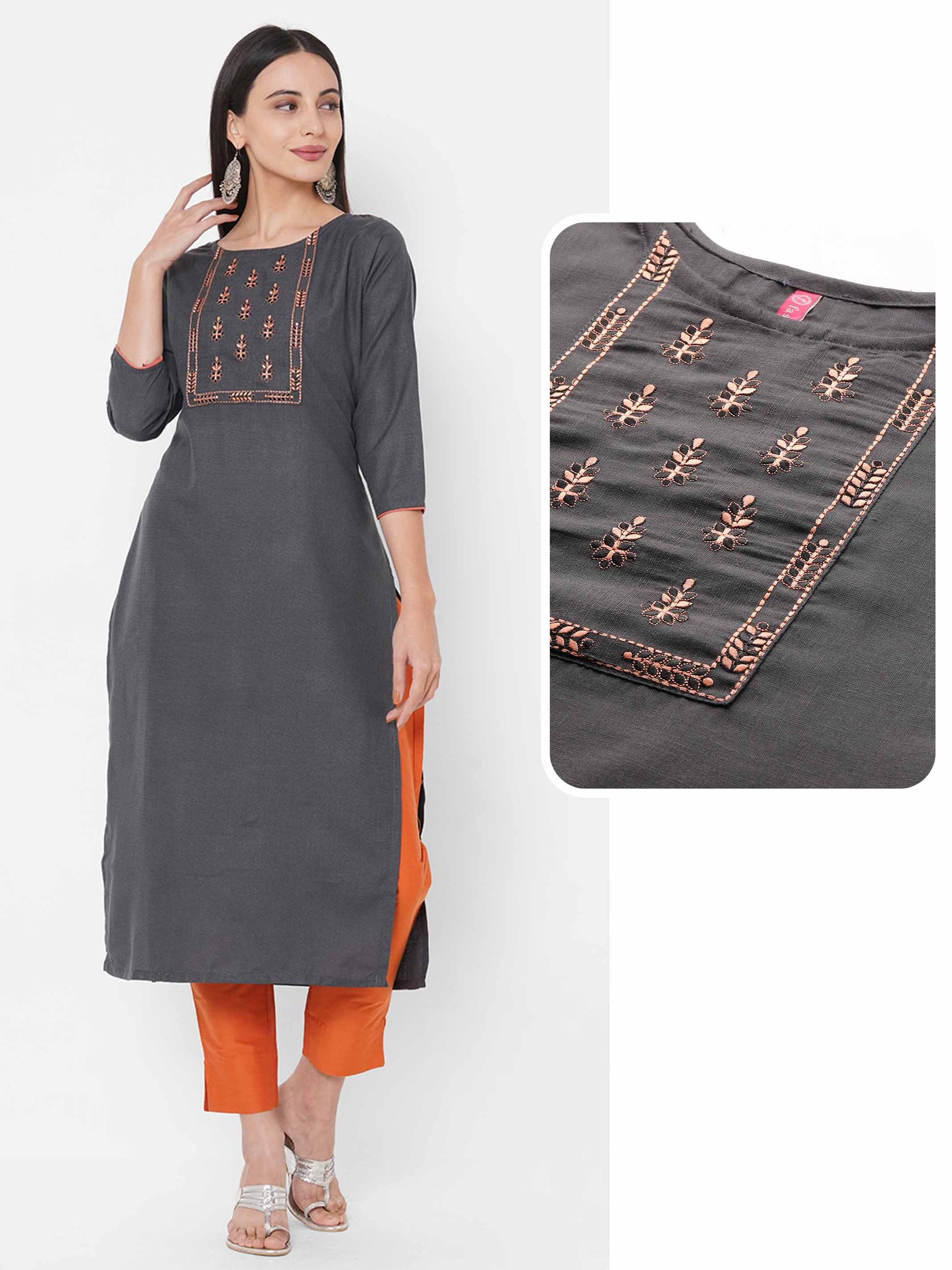 Floral Embroidered Yoke Straight Kurta – Steel Grey