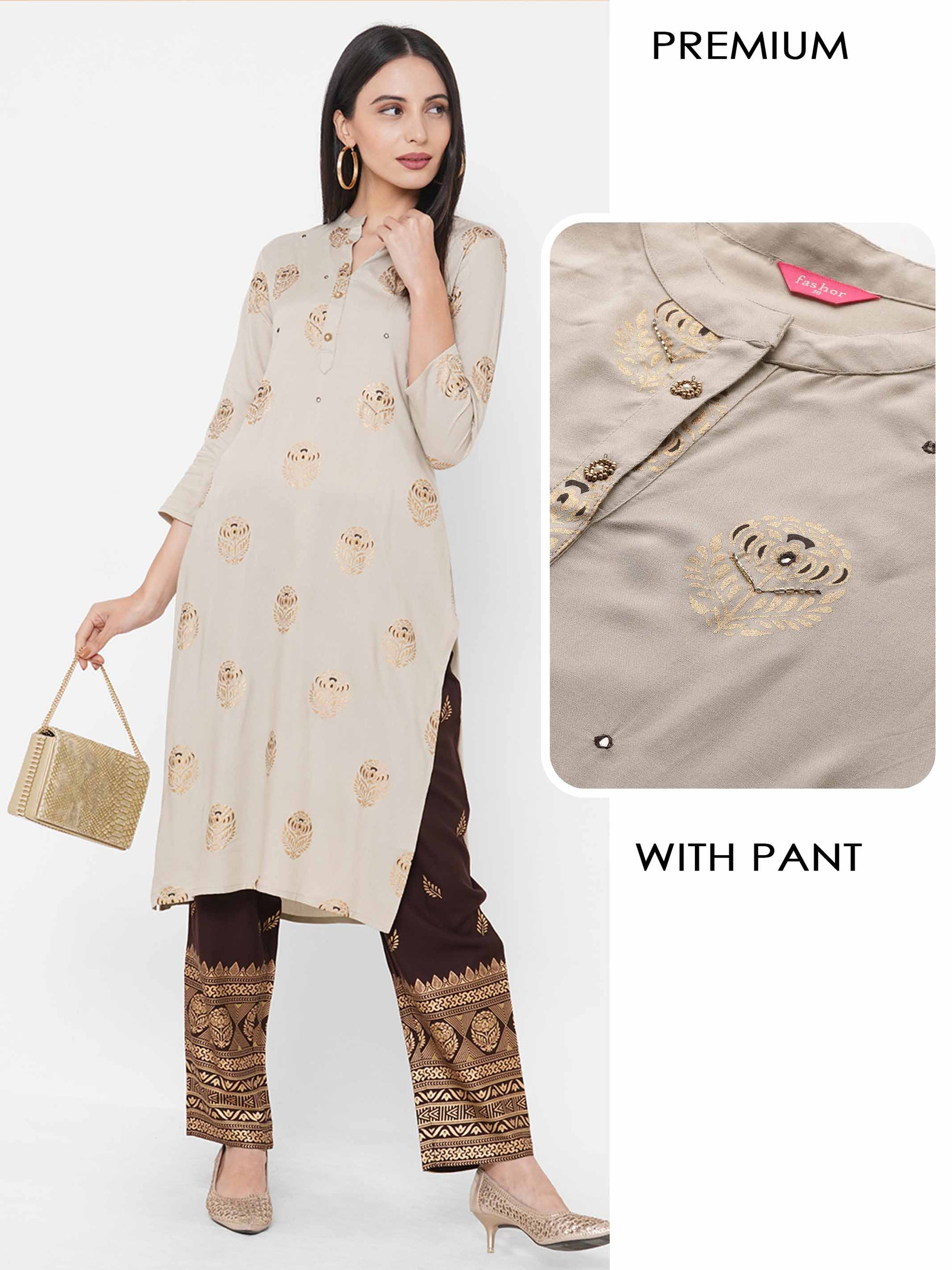 Floral Foil Printed Kurta with Ethnic Foil Printed Ankle Pant – Mauve