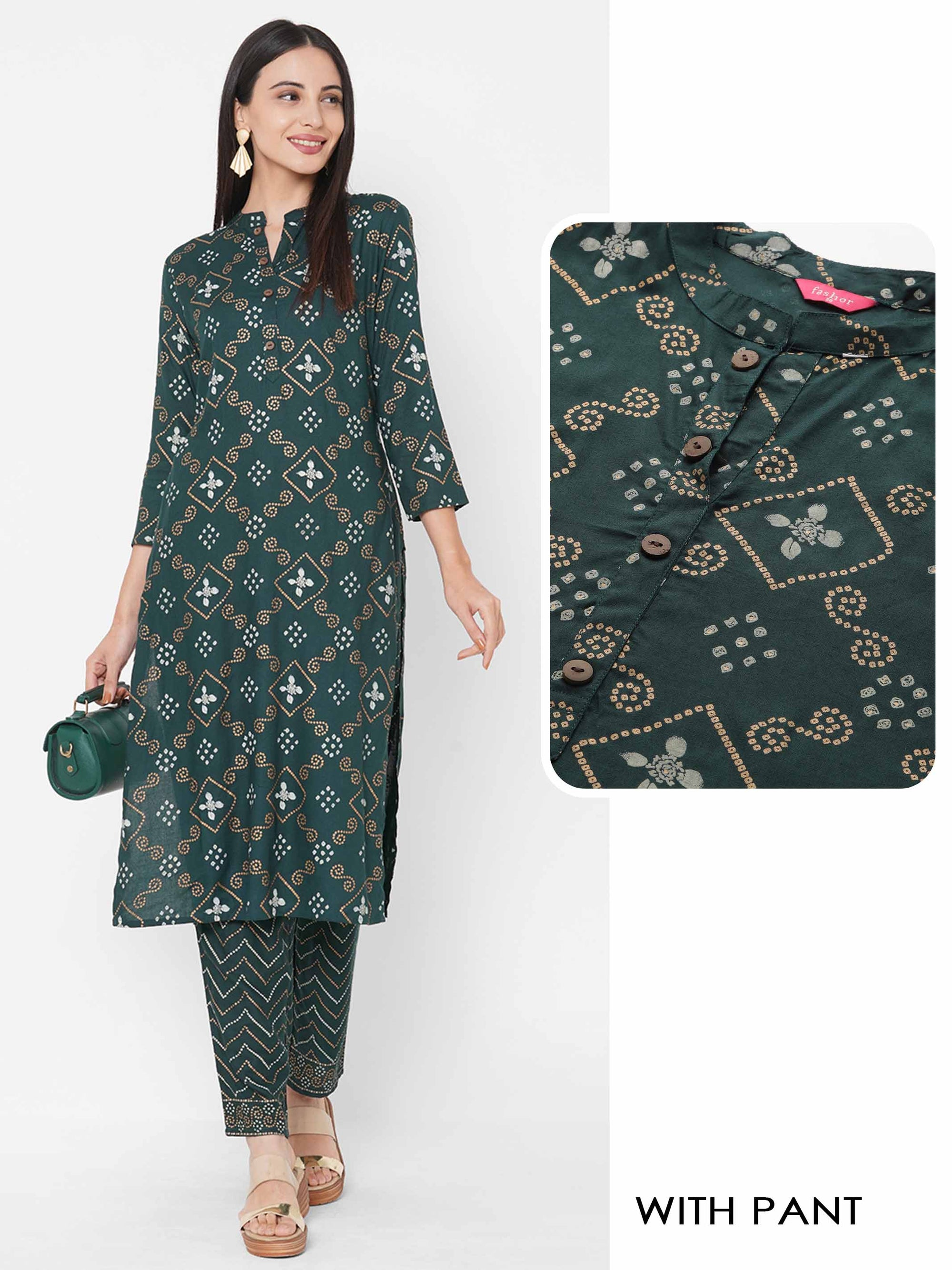 Bandhani Foil Mix Printed Kurta with Bandhani Chevron Printed Pant - Bottle Green