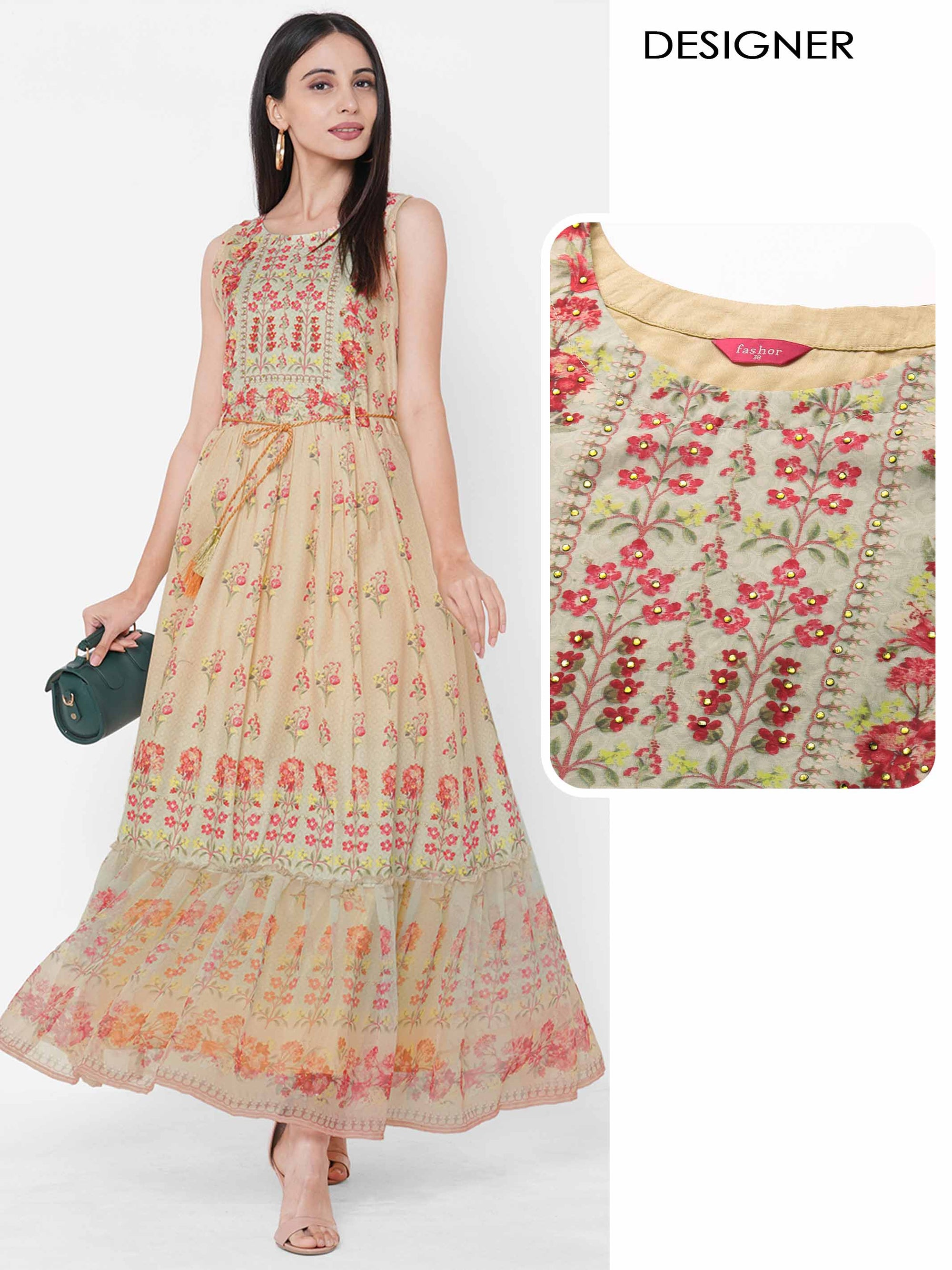 Floral Mix Printed & Embroidered Maxi – Beige