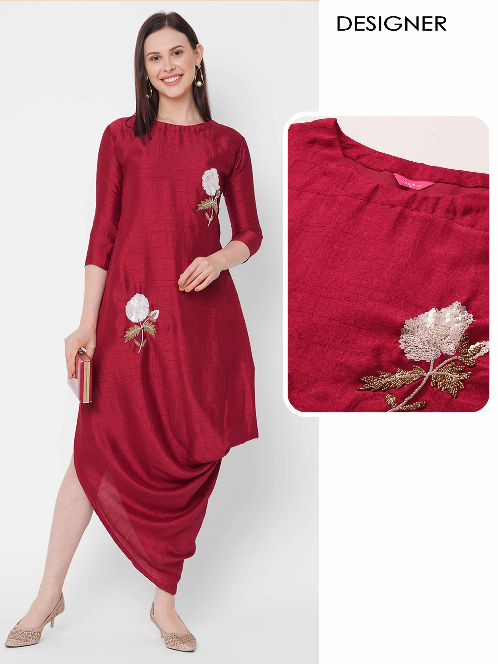 Floral Embellished A-Line Side Tucked Cowl Maxi - Red