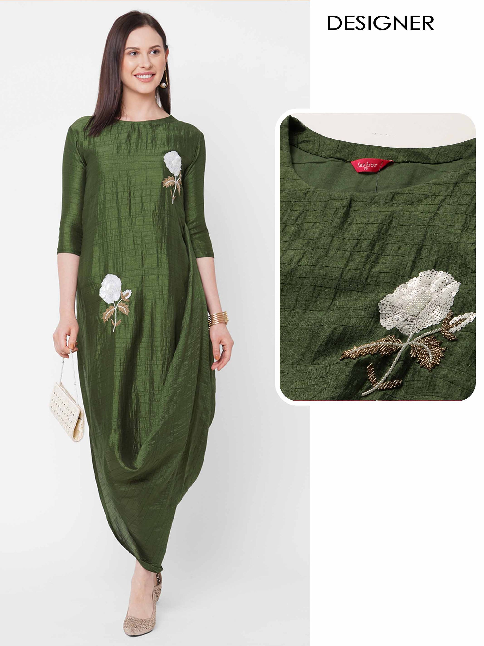 Floral Embellished A-Line Side Tucked Cowl Maxi - Moss Green