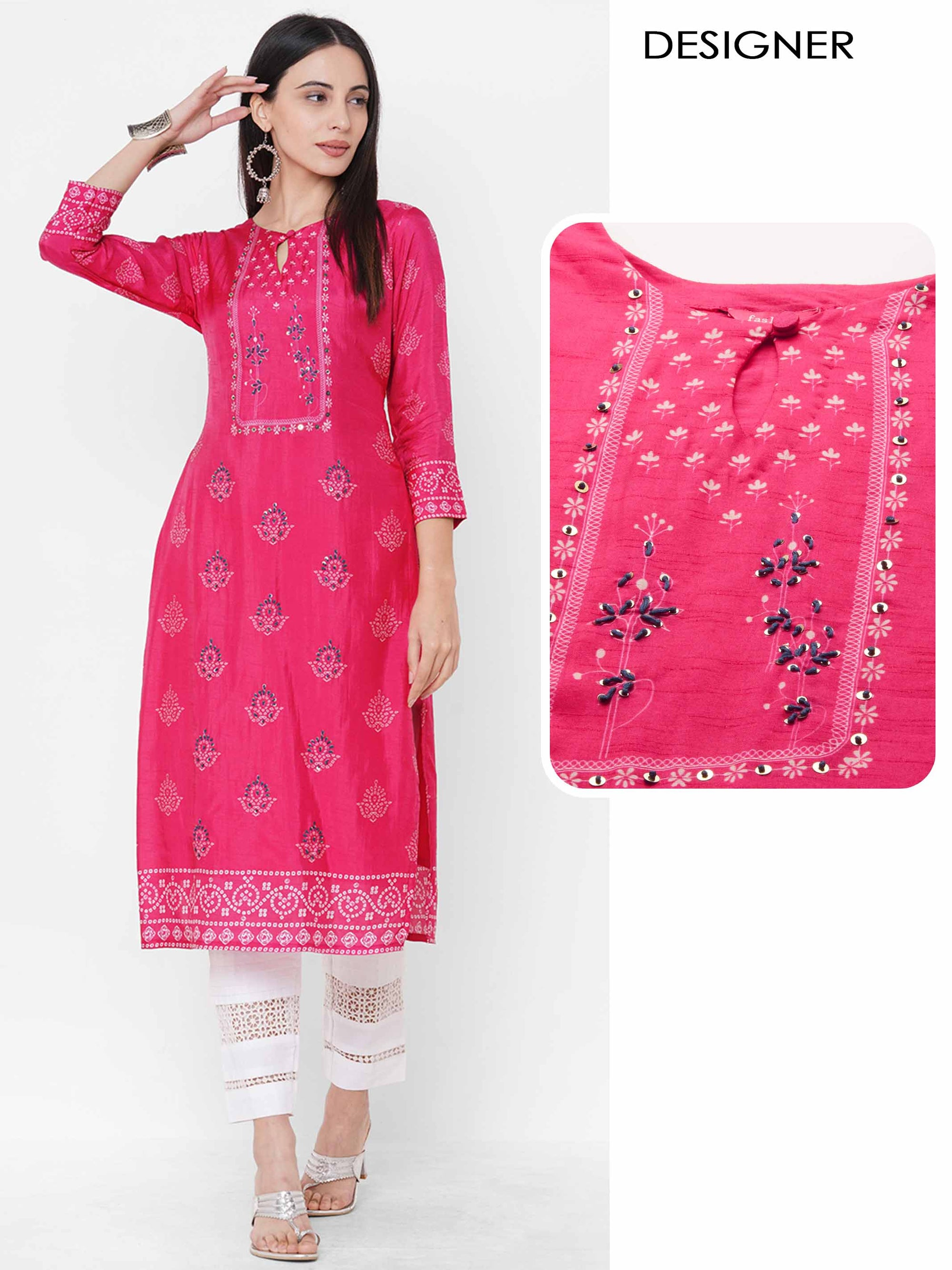 Bandhani Mix Printed & Hand Embroidered Straight Kurta - Magenta