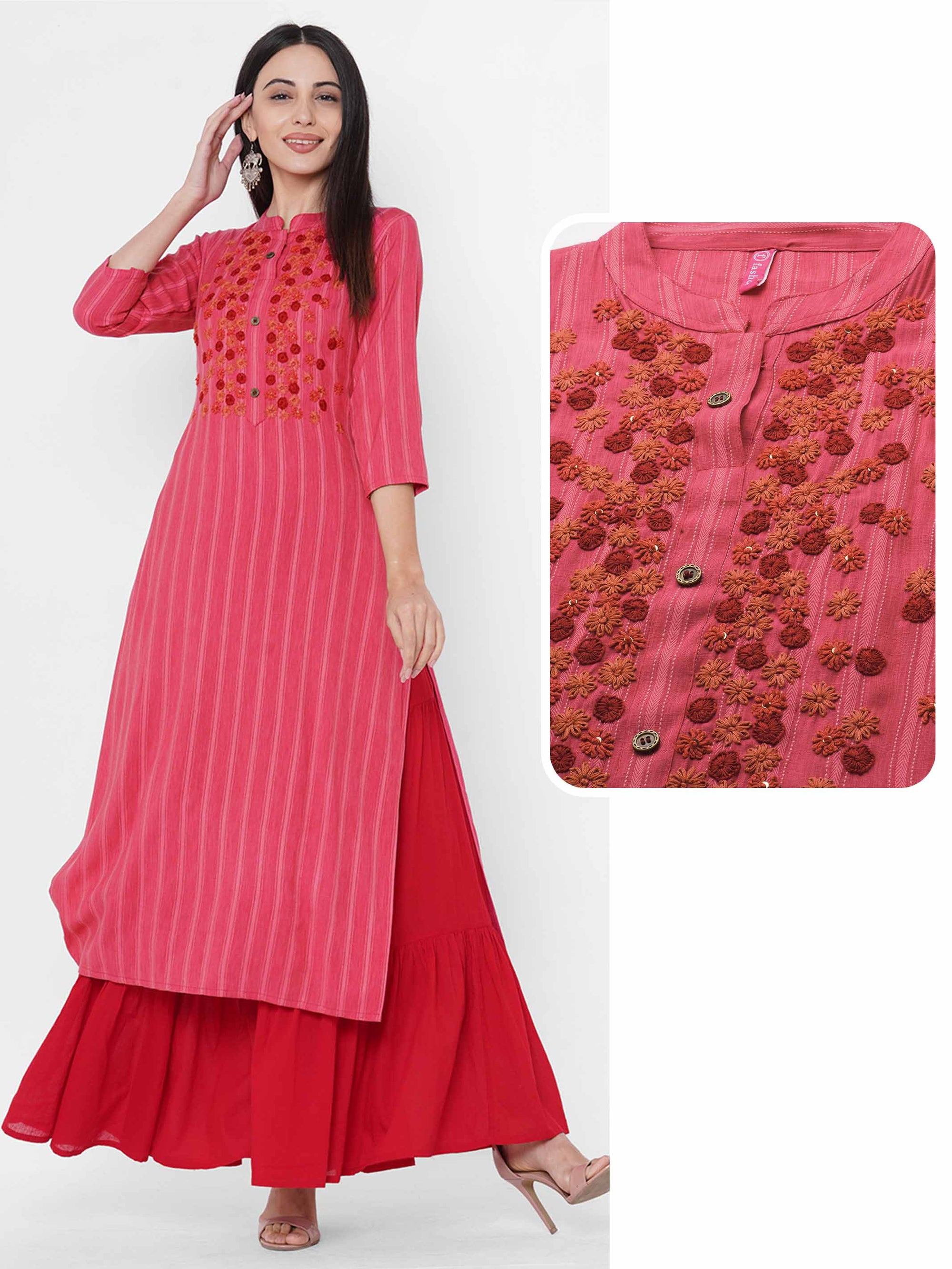 Woven Striped & Floral Embroidered Kurta - Pink