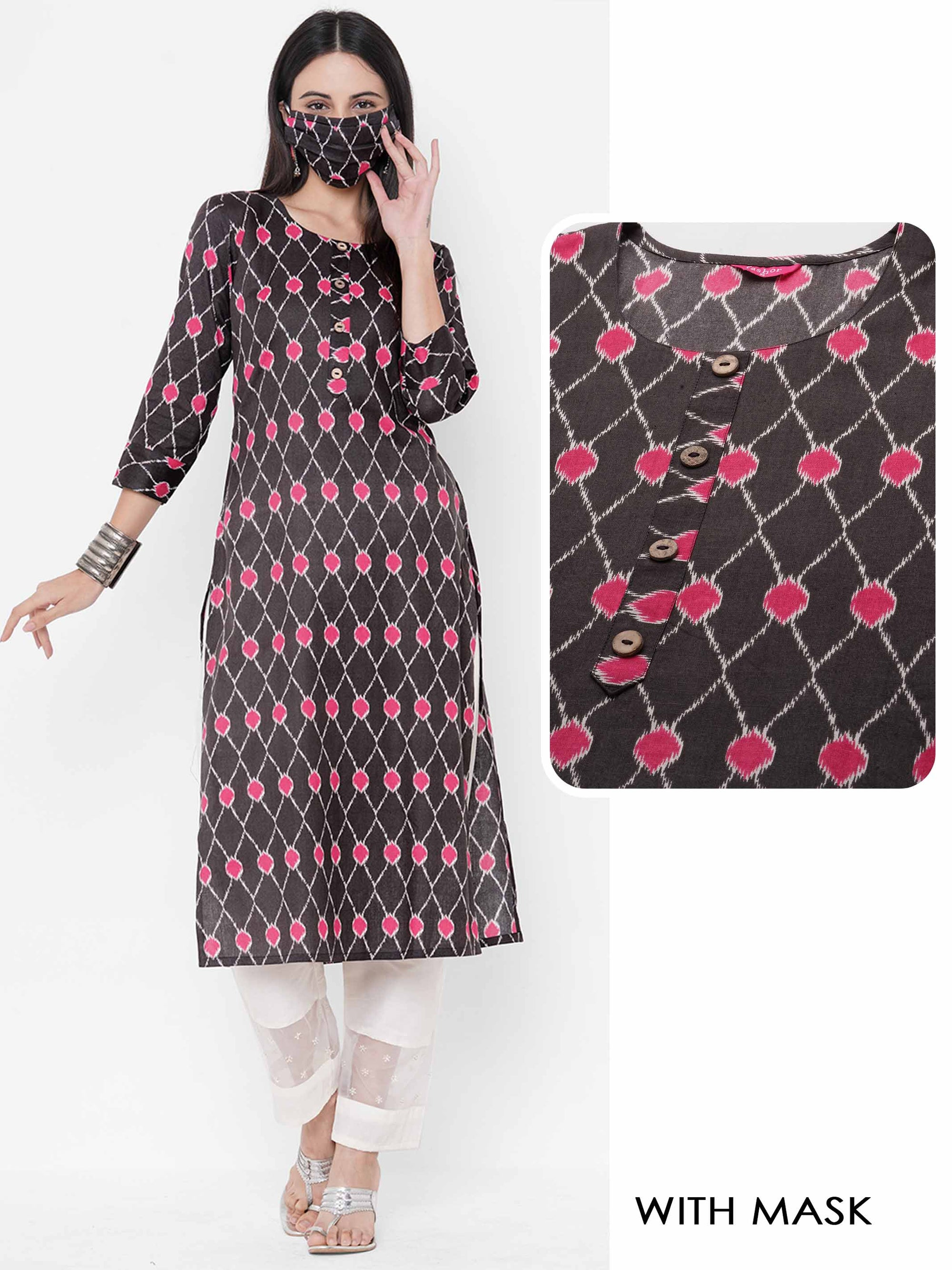 Ikat Printed Straight Kurta with Matching 2-Ply Mask - Grey