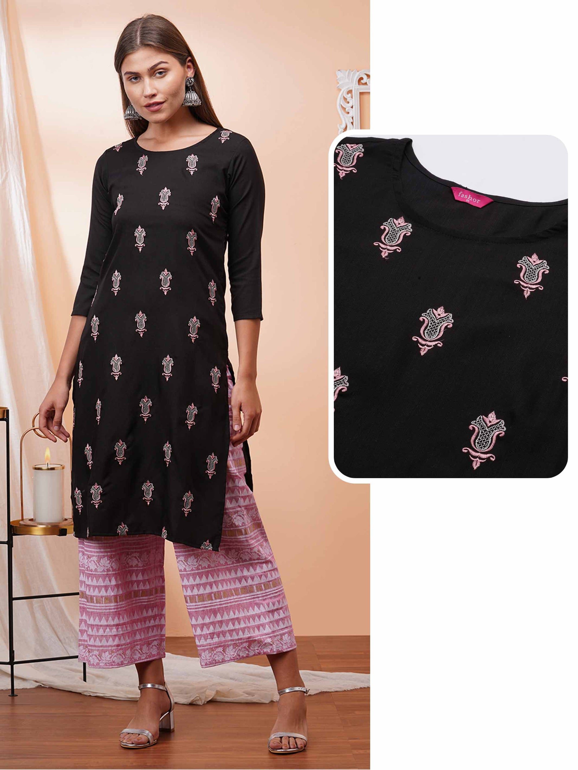 Ethnic Embroidered Straight Kurta - Black