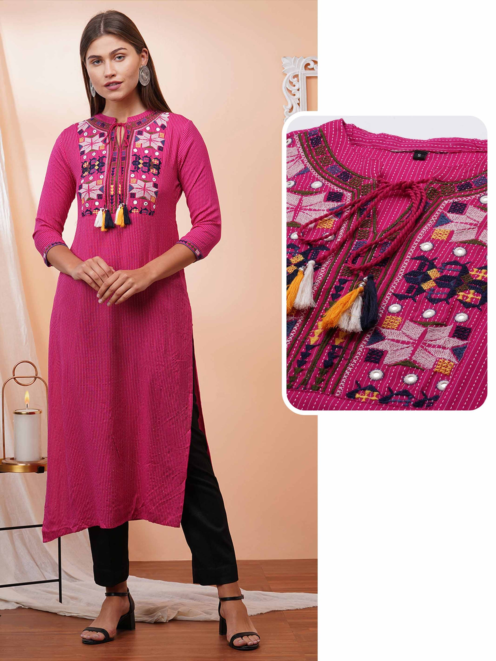 Kantha Weaved & Phulkari Embroidered Straight Kurta – Pink
