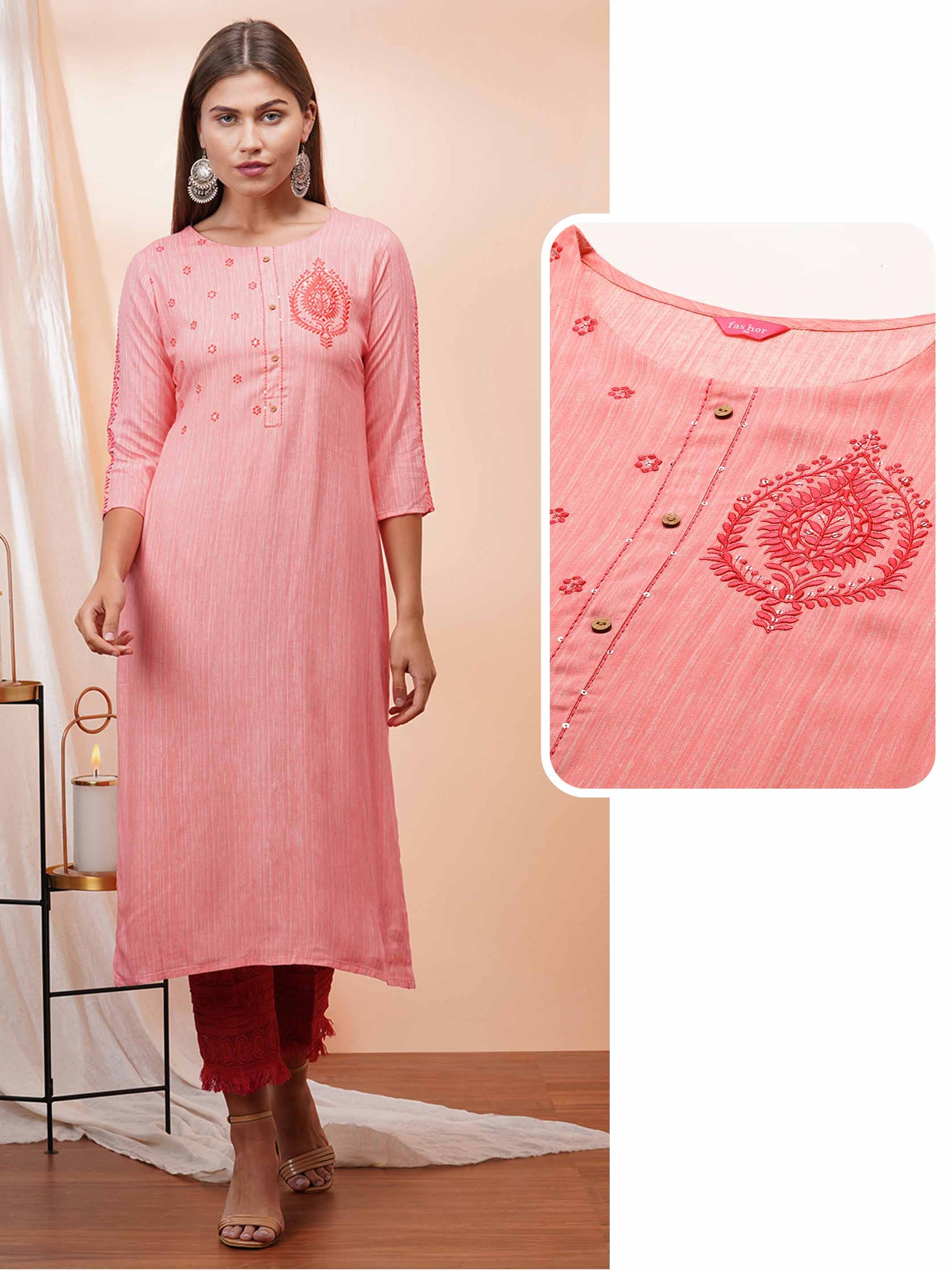 Floral Embroidered Straight Kurta – Pink Coral