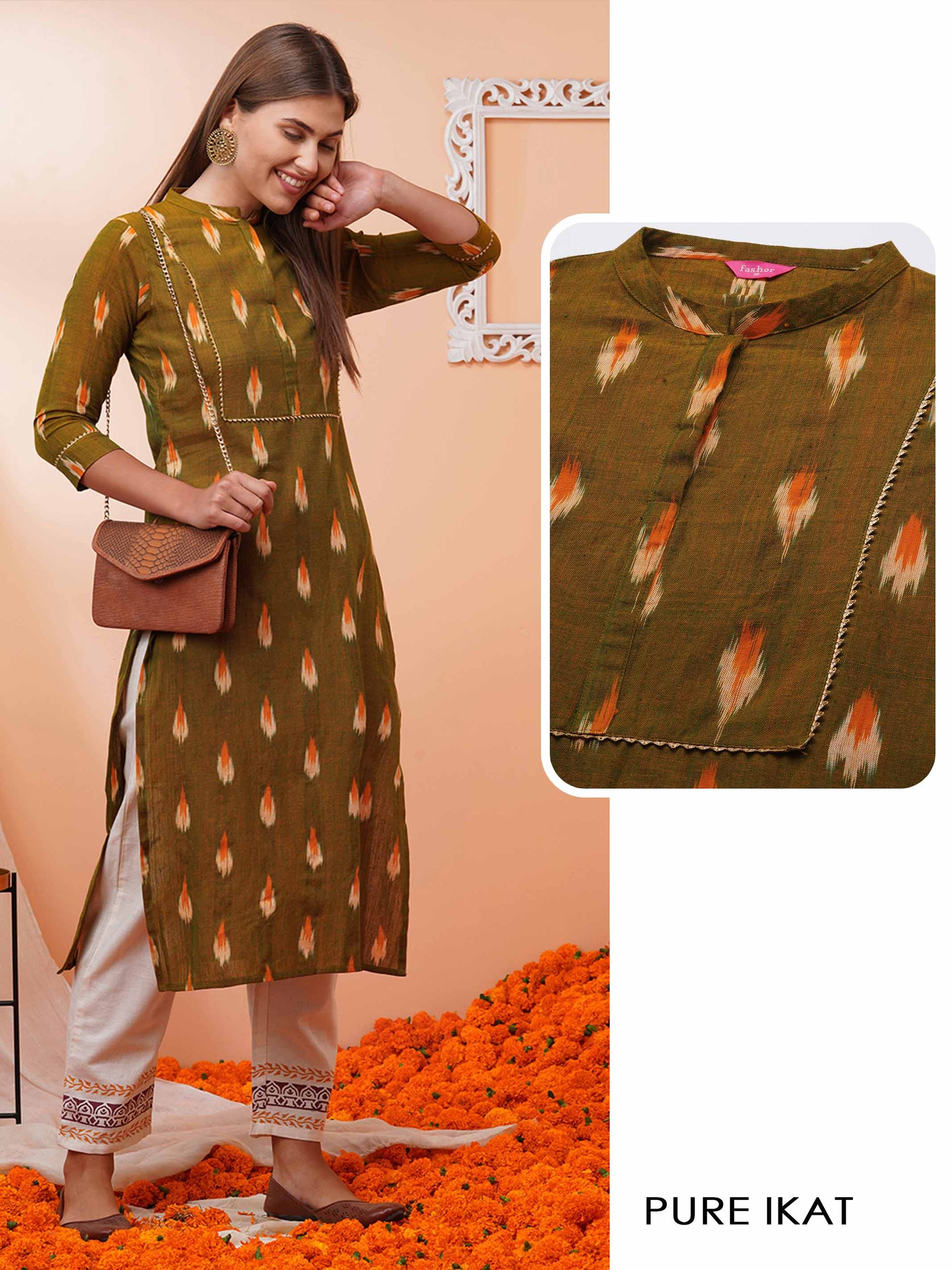 Pure Ikat Woven Straight Kurta - Moss Green