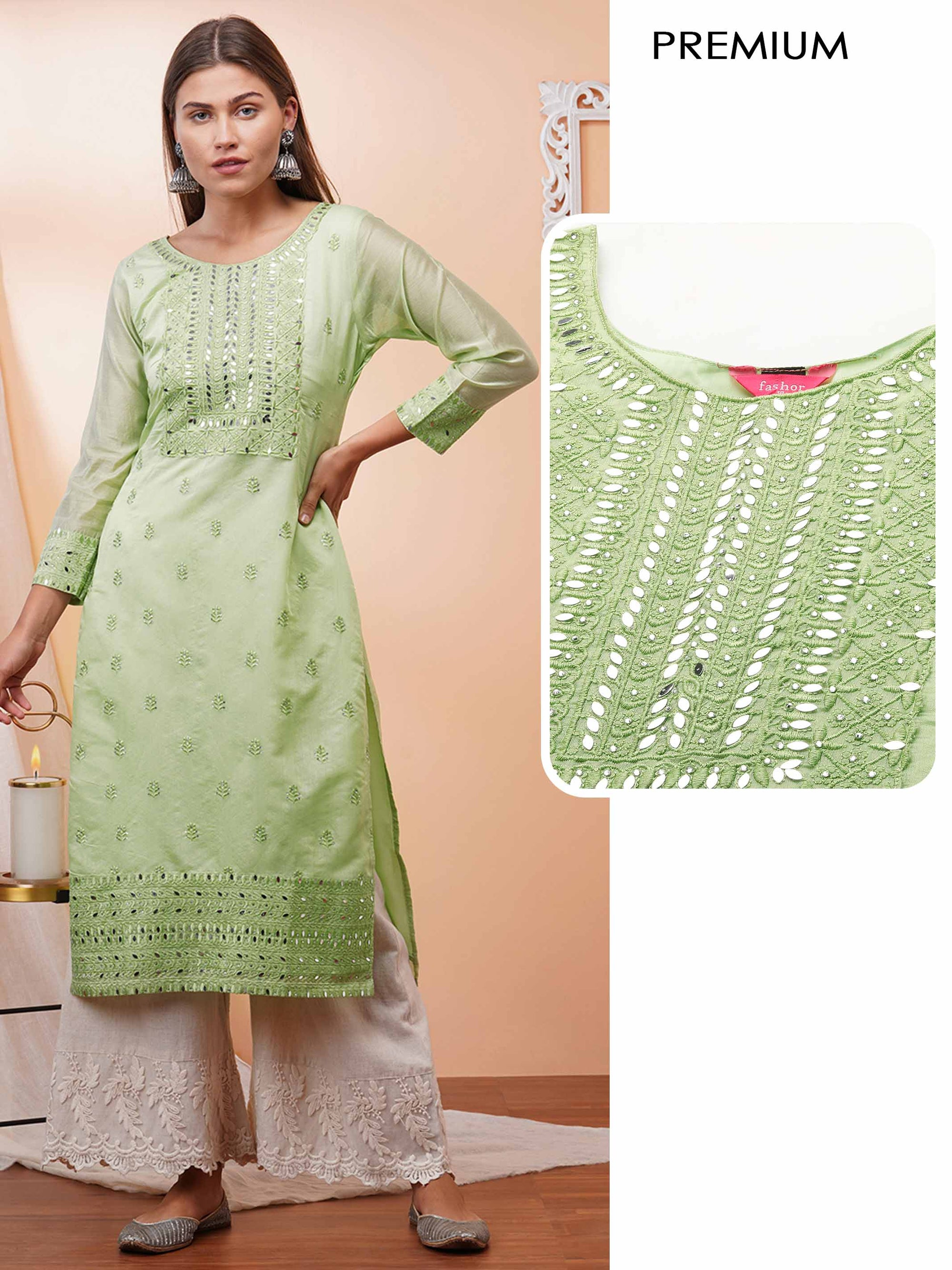 Ethnic Embroidered & Embellished Straight Kurta - Mint Green