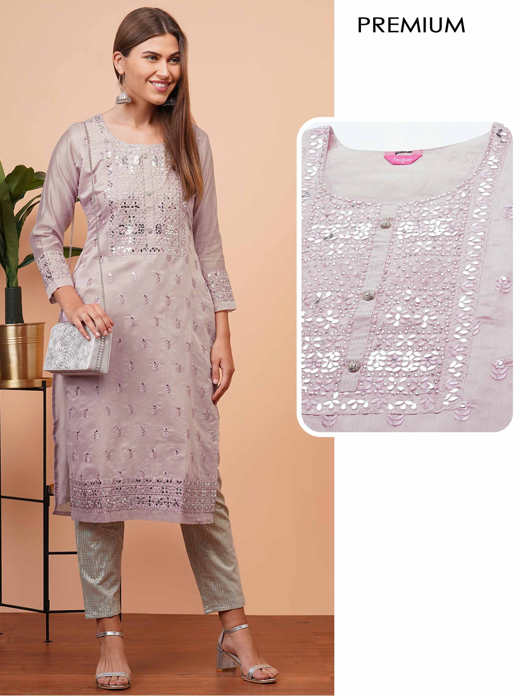 Floral Embroidered & Foil Mirror Embellished Kurta - Rusty Pink