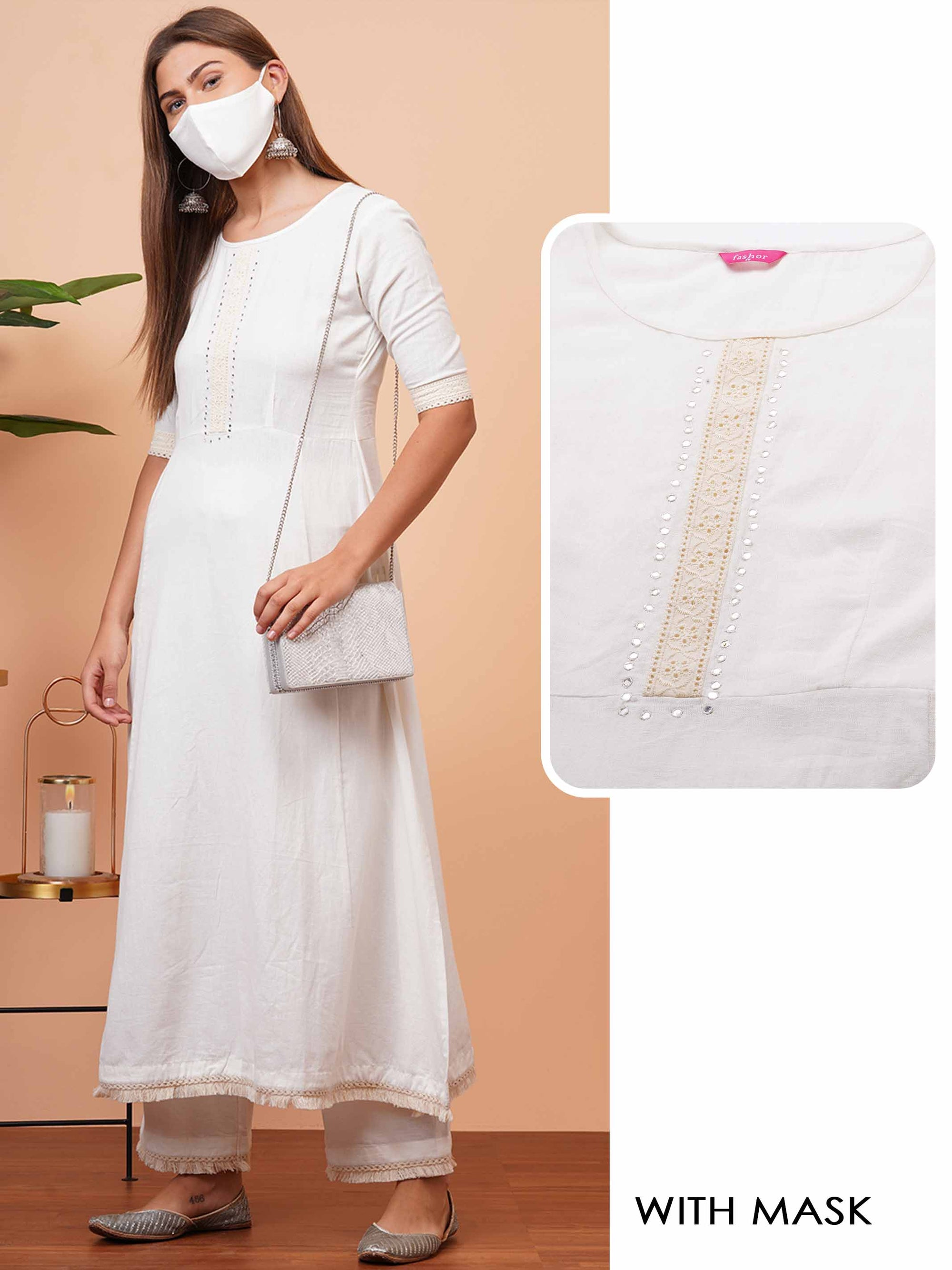 Minimal Embellished Solid A-Line Kurta with 2-Ply Mask - White