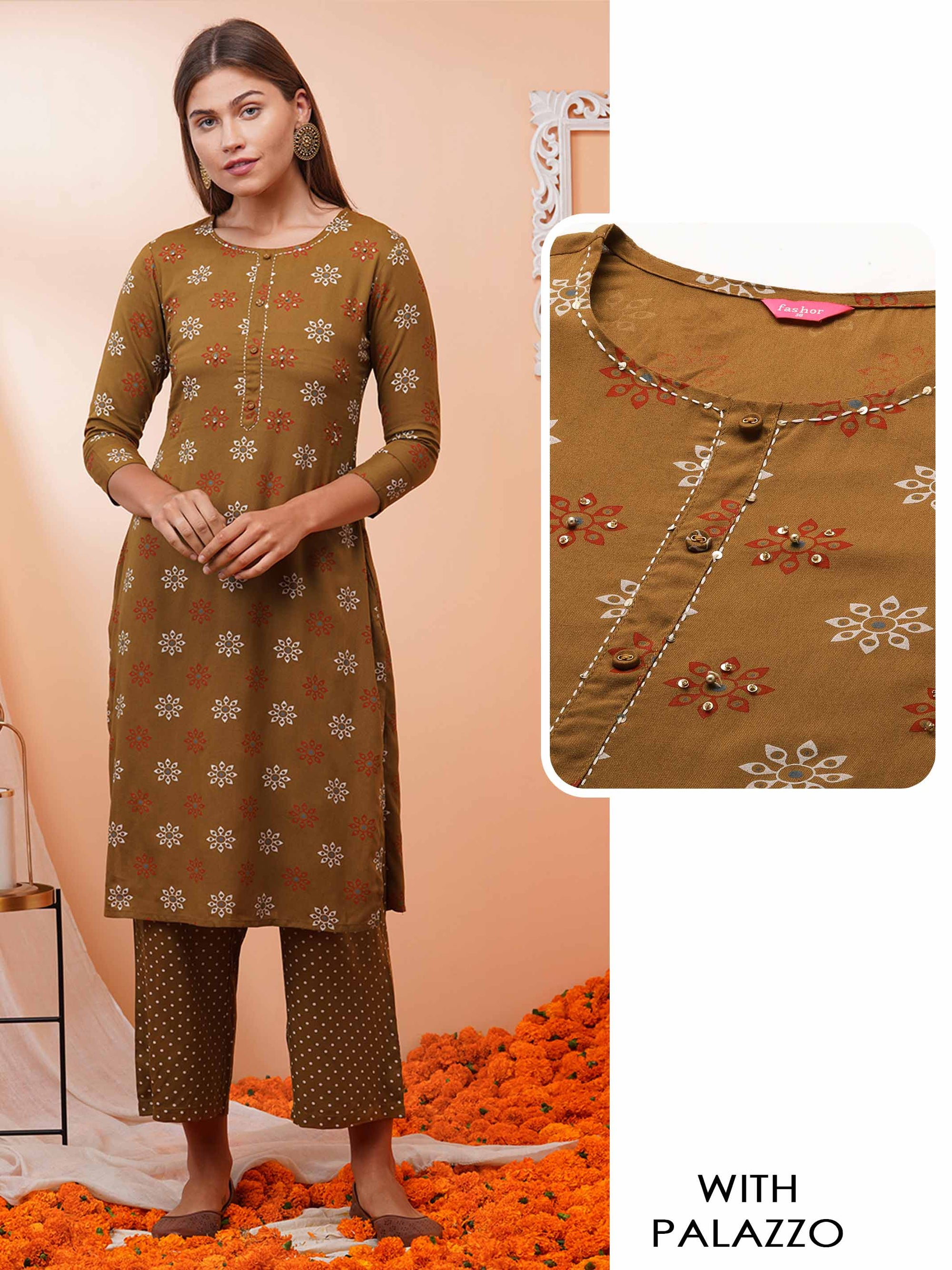 Floral Khari Printed Kurta with Polka Dot printed Palazzo - Light Brown