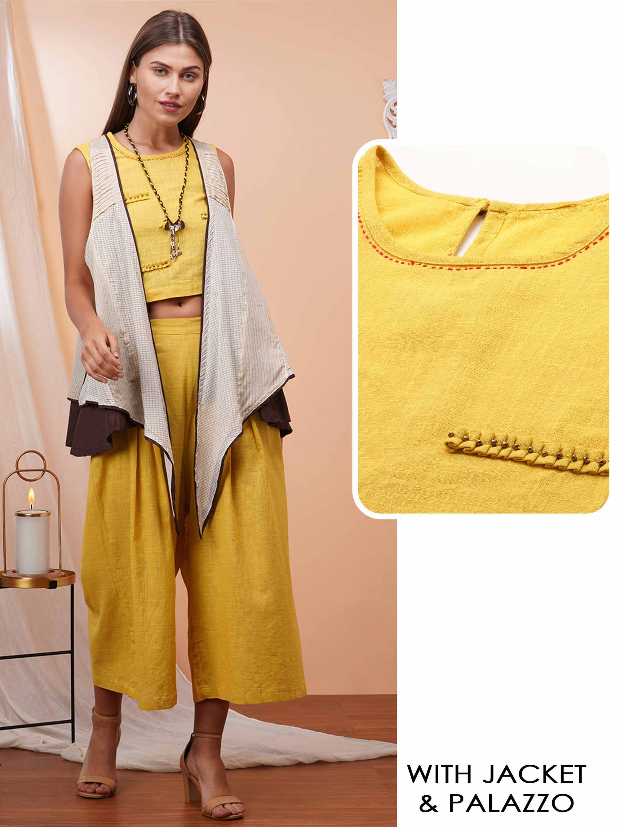 Minimal Embroidered Crop Top with Solid Short Palazzo & Mix printed Flared Jacket – Mustard